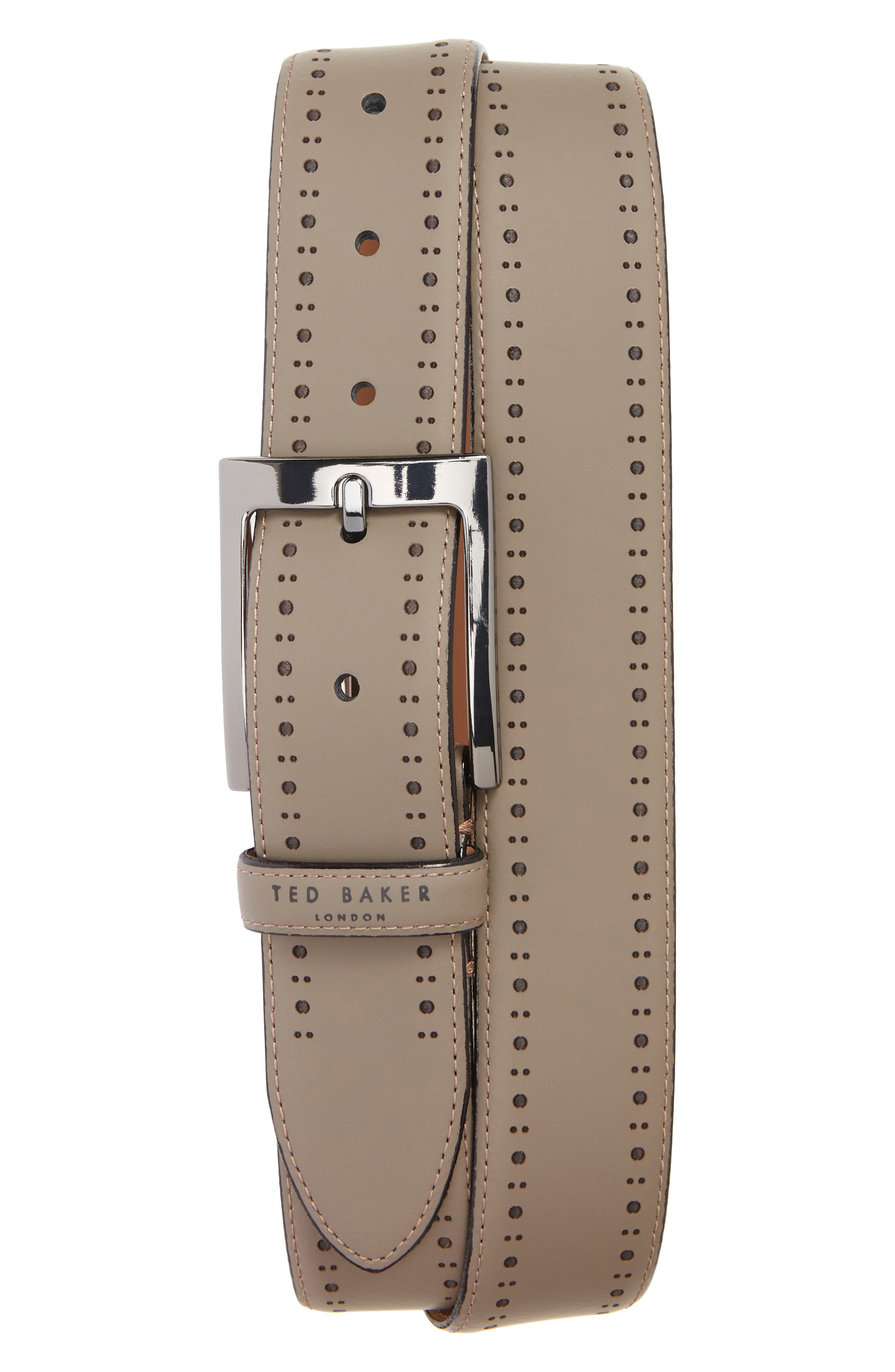 Havan Brogue Leather Belt,                         Main,                         color, Grey