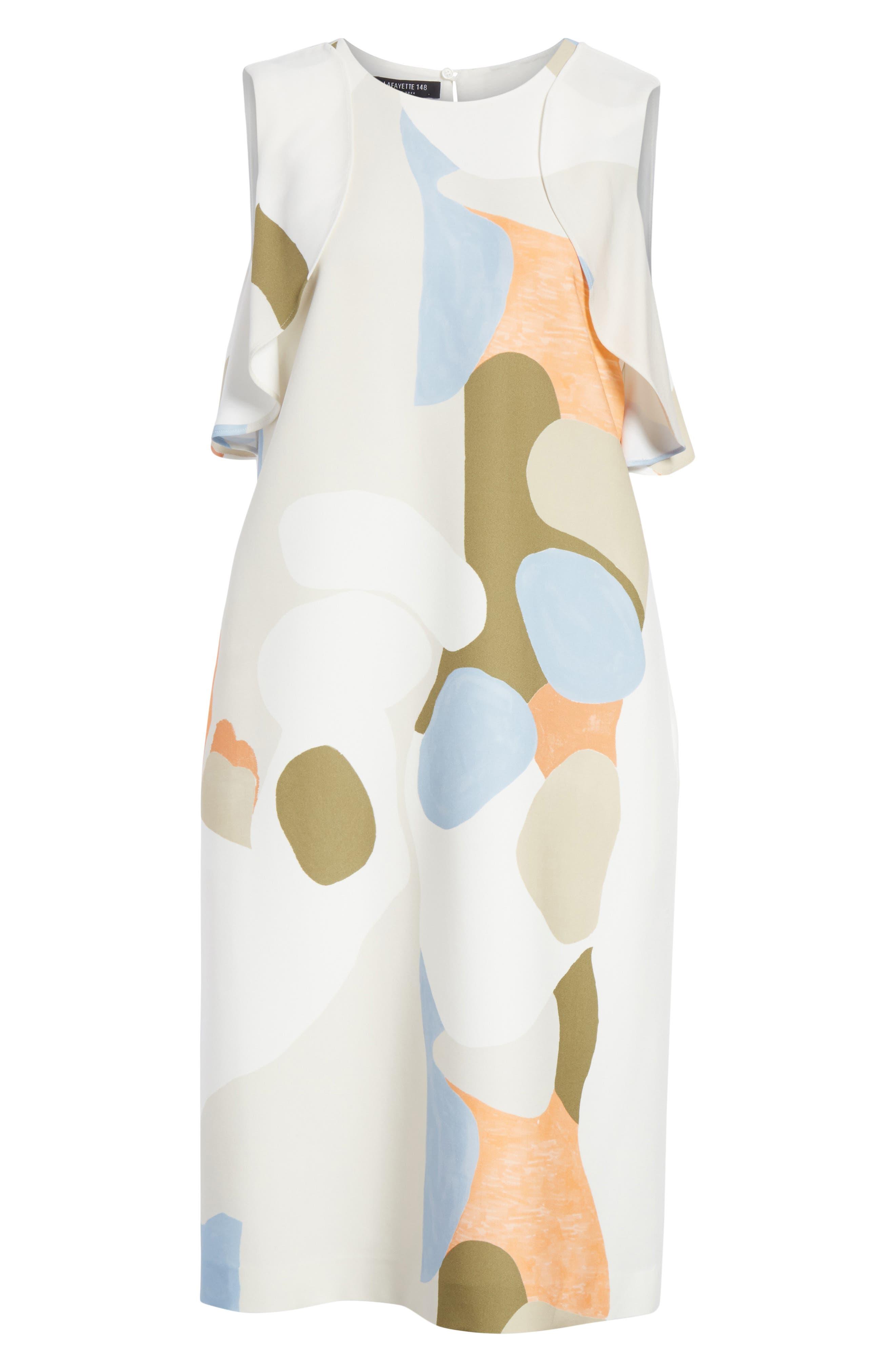 Landscape Expression Print Ruffle Dress,                             Alternate thumbnail 7, color,                             Cloud Multi