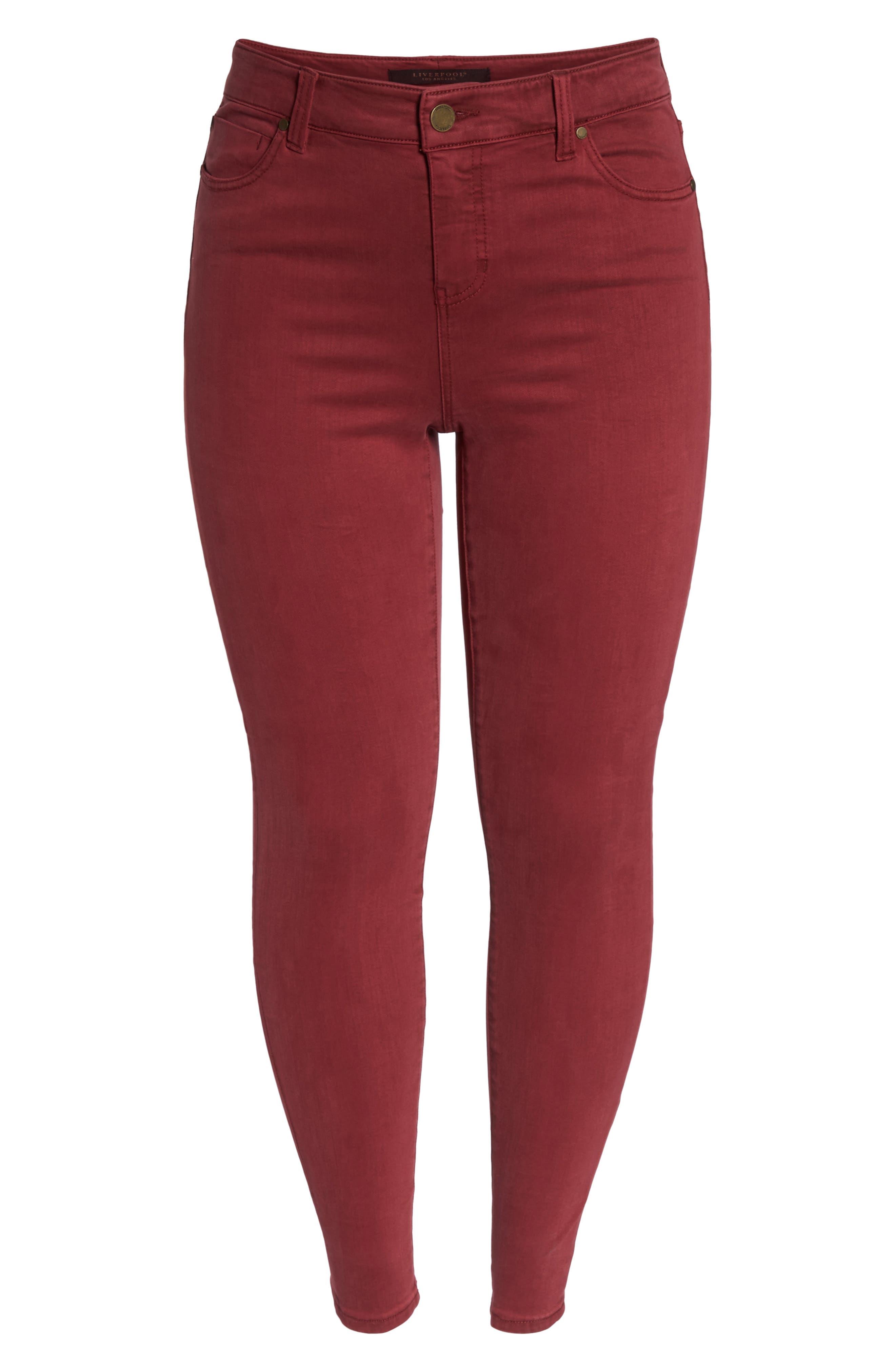 Abby Skinny Jeans,                             Alternate thumbnail 4, color,                             Biking Red