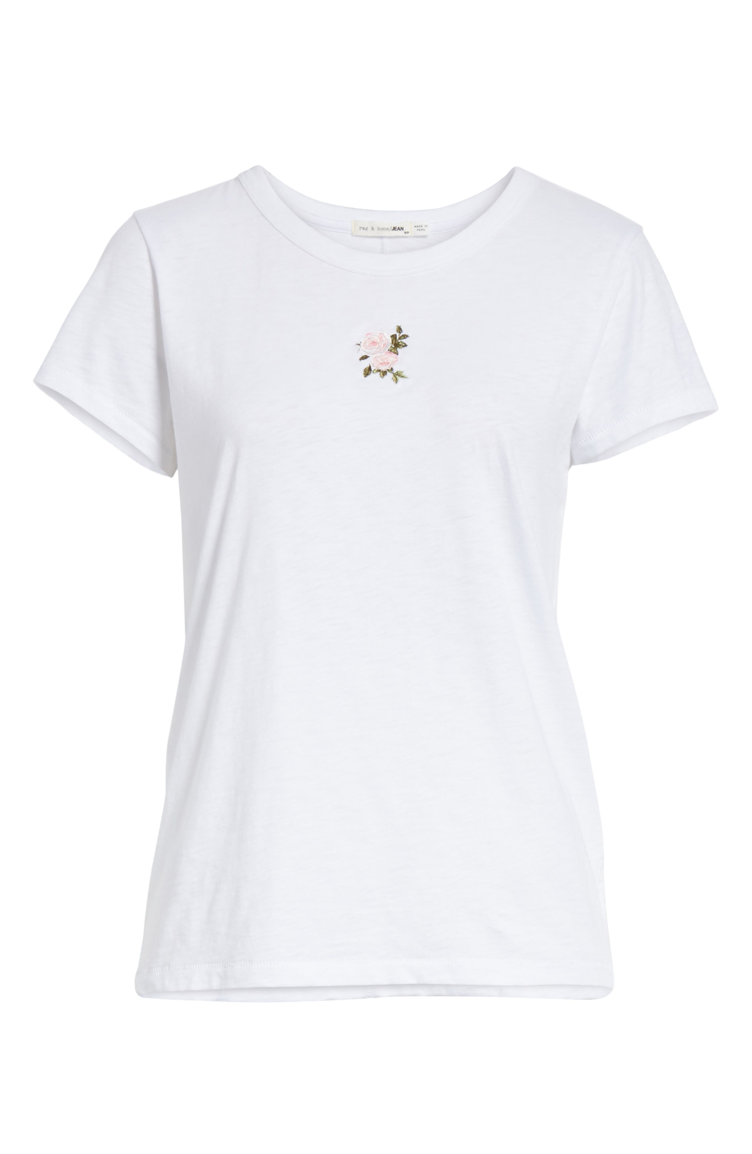 Rose Embroidered Tee,                             Alternate thumbnail 6, color,                             White