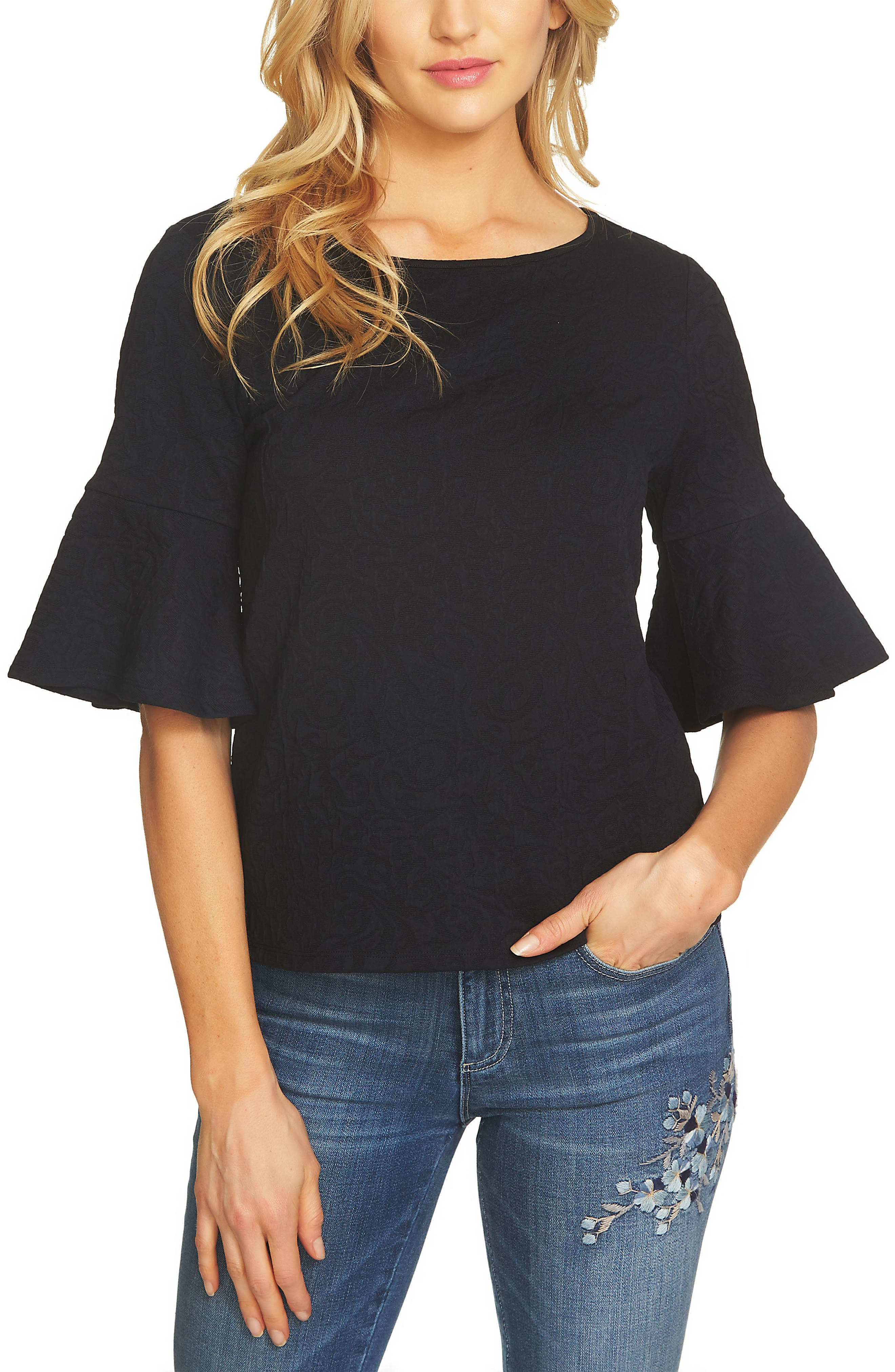 Bell Sleeve Paisley Top,                         Main,                         color, Rich Black