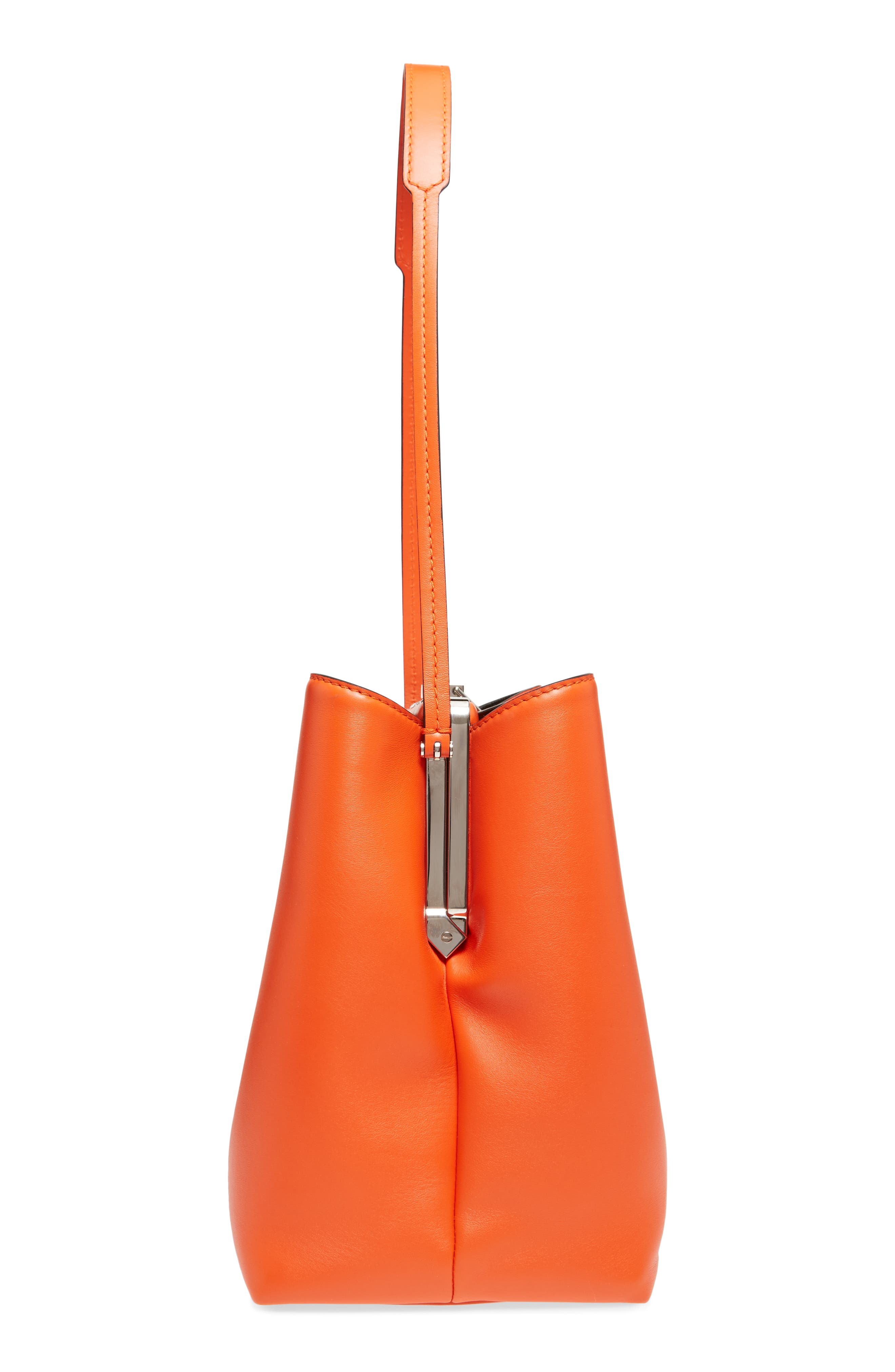 Frame Leather Shoulder Bag,                             Alternate thumbnail 5, color,                             Orange
