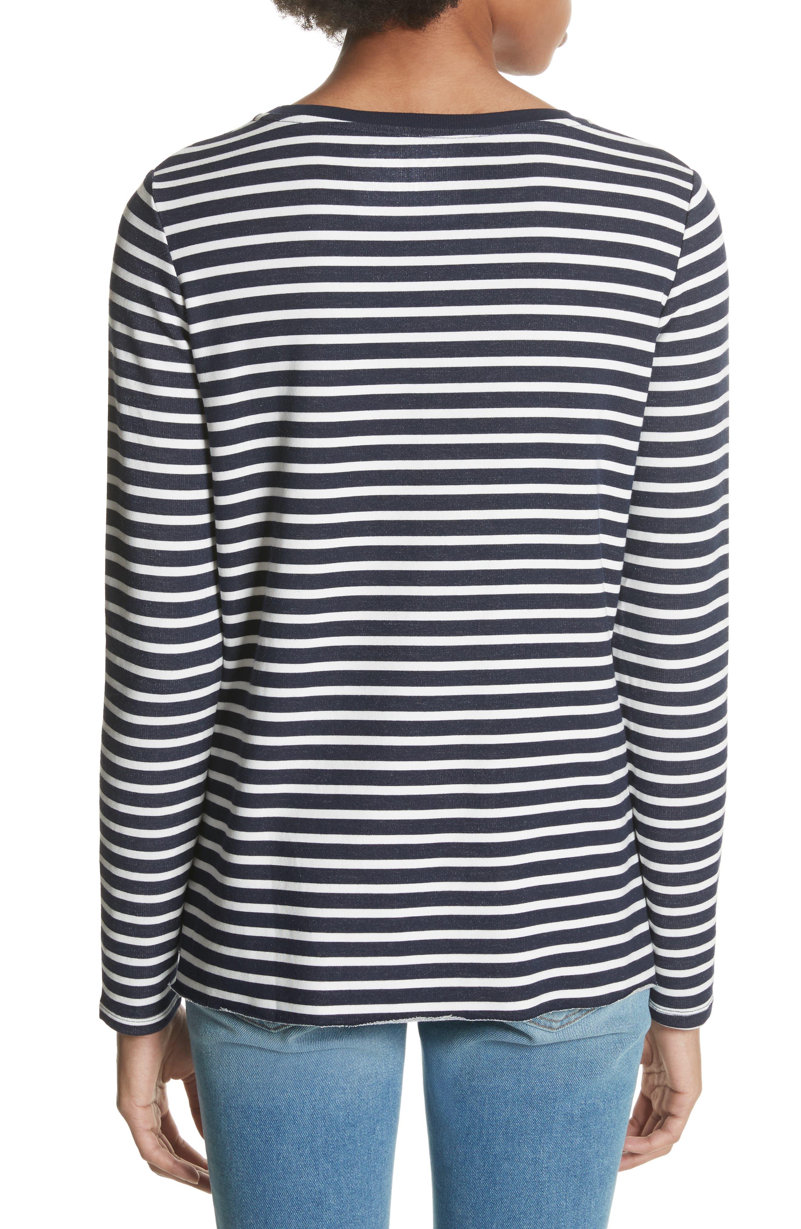 Stripe Sweatshirt,                             Alternate thumbnail 2, color,                             Marine/ Milk