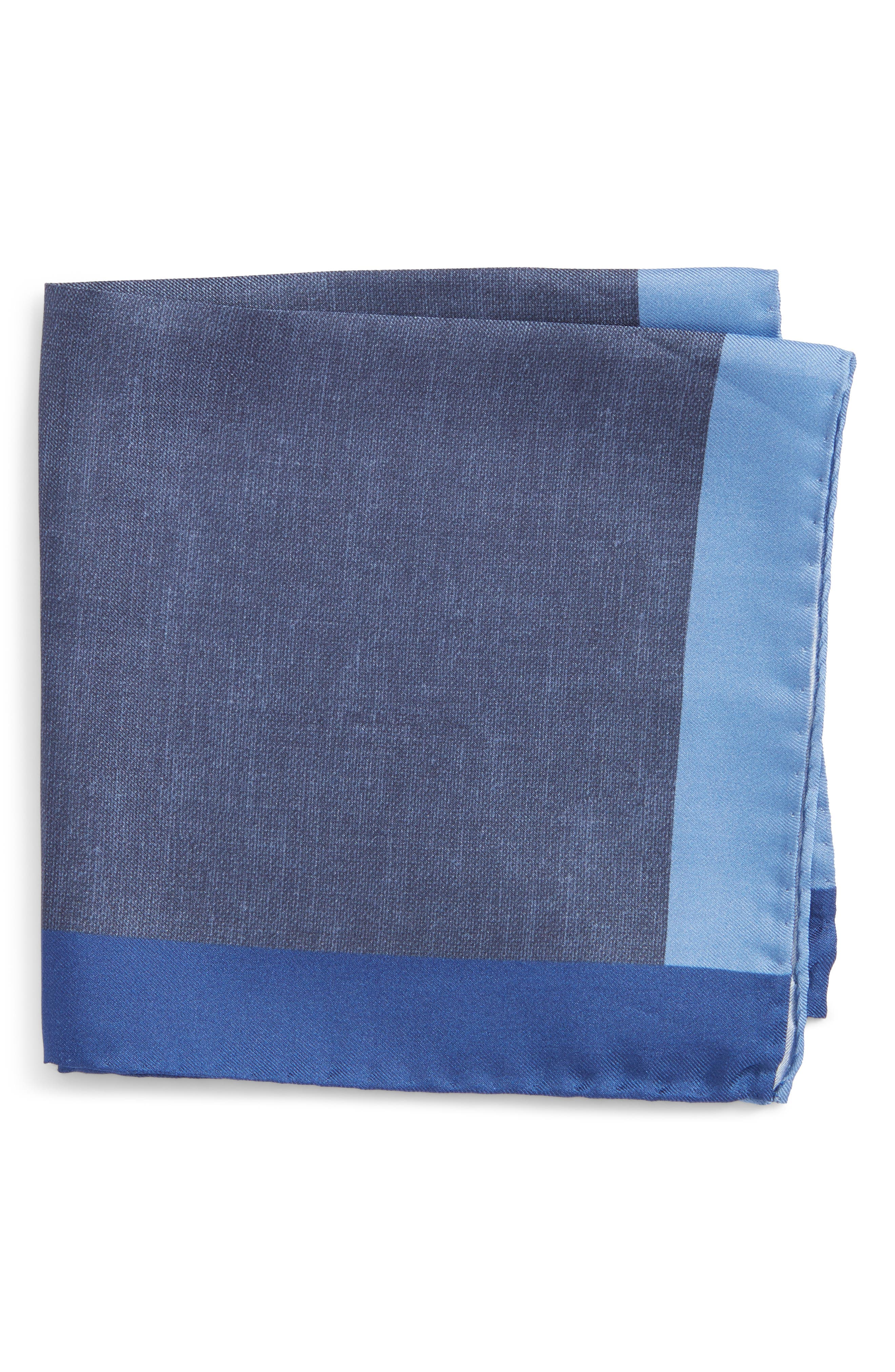 Nordstrom x BOSS Exclusive Silk Pocket Square,                             Main thumbnail 1, color,                             Blue