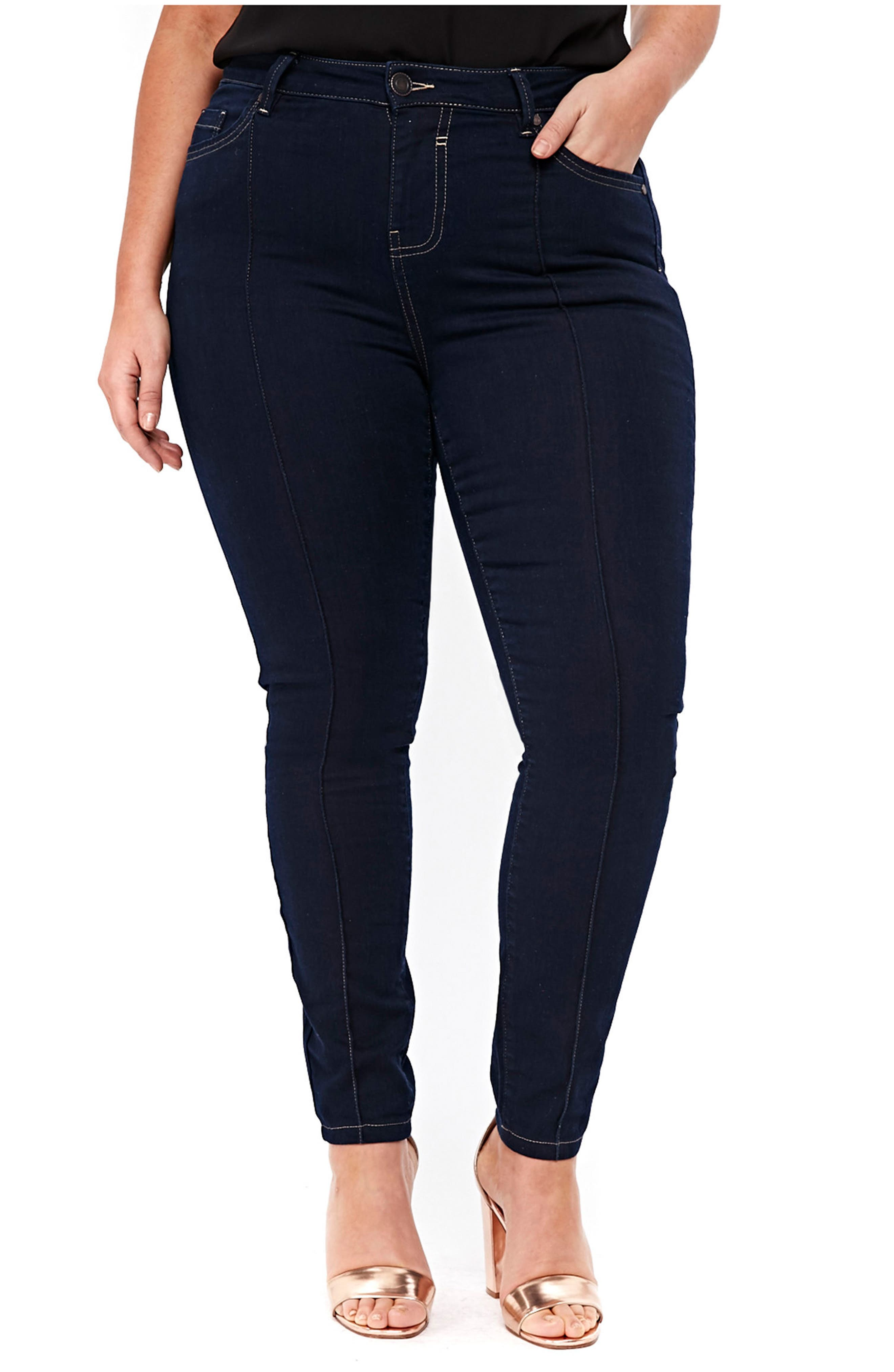Pintuck High Waist Skinny Jeans,                         Main,                         color, Indigo