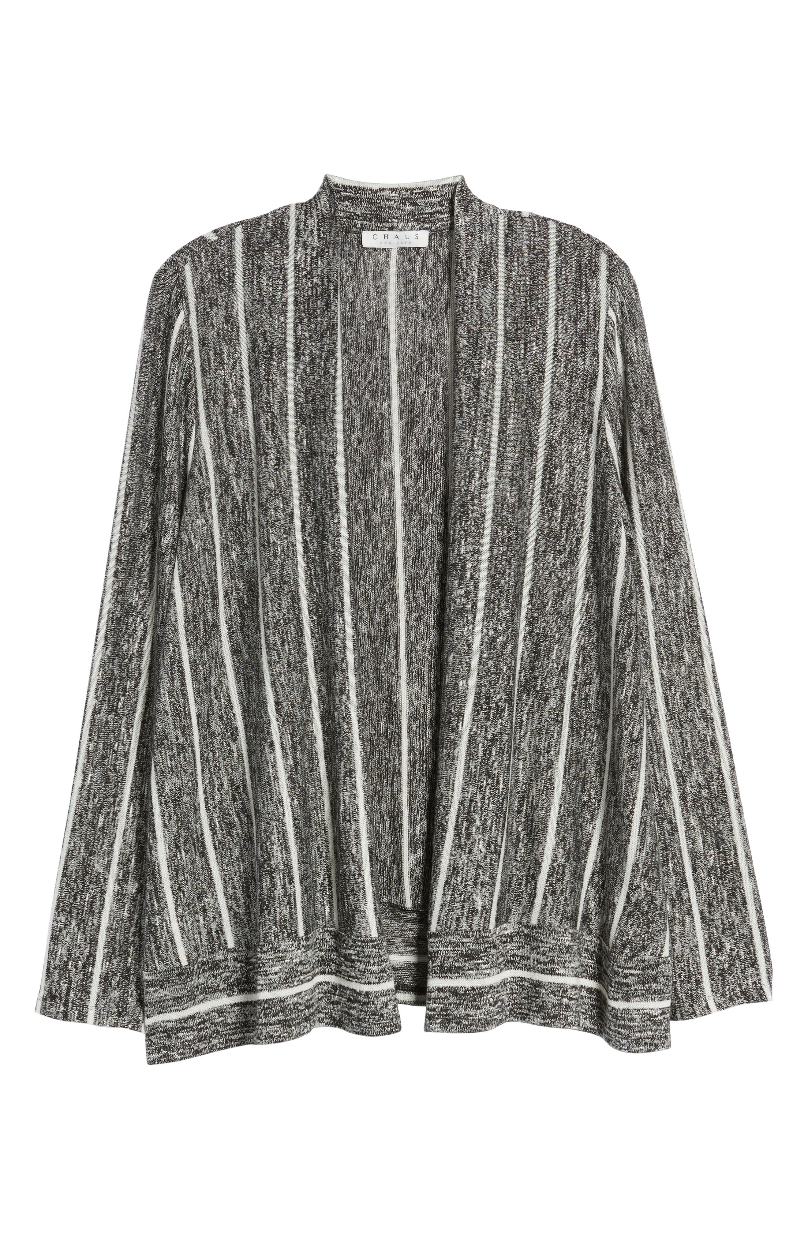 Marled Stripe Open Front Cardigan,                             Alternate thumbnail 7, color,                             060-Rich Black