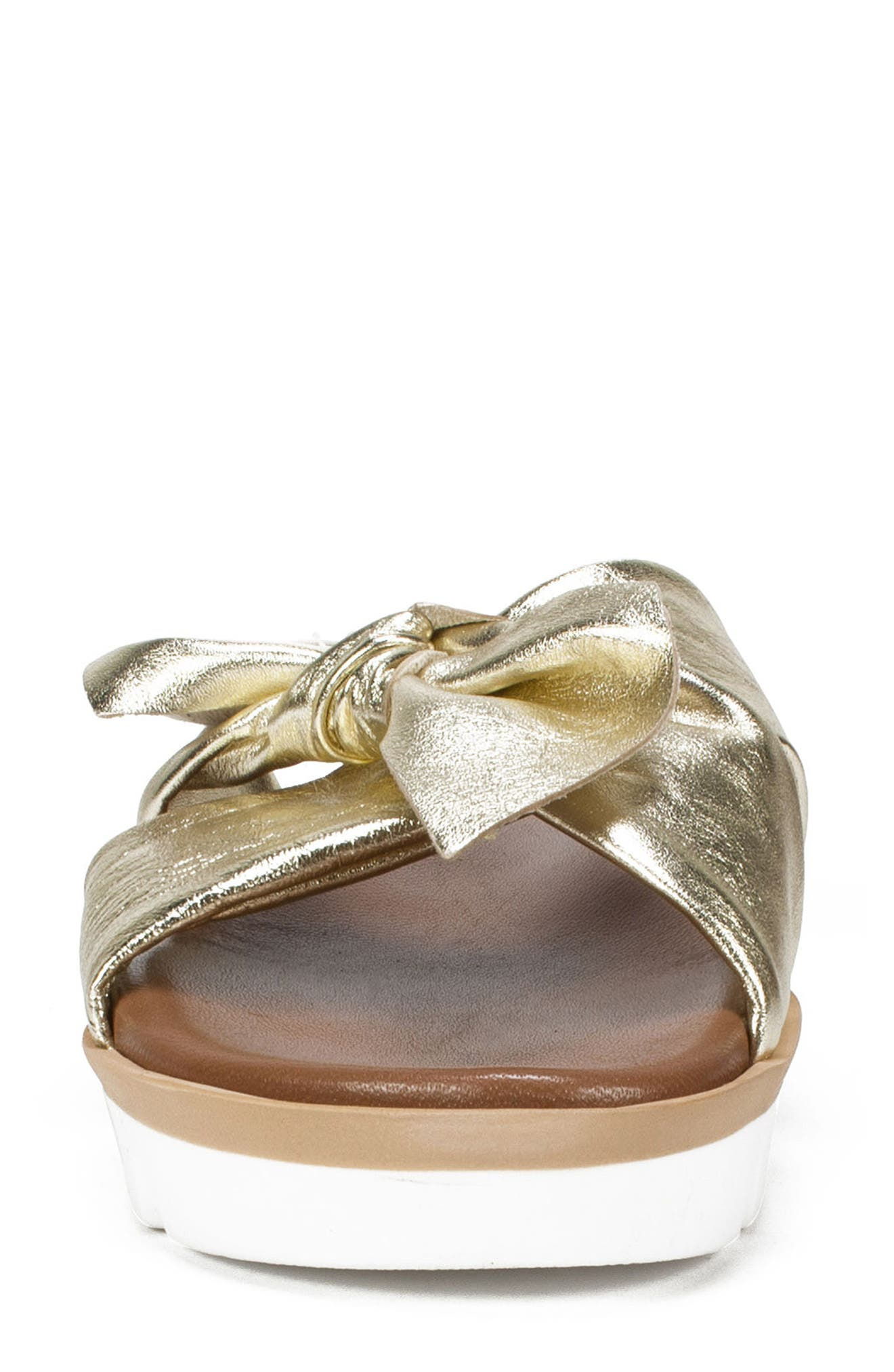 Fynn Slide Sandal,                             Alternate thumbnail 4, color,                             Platinum Leather