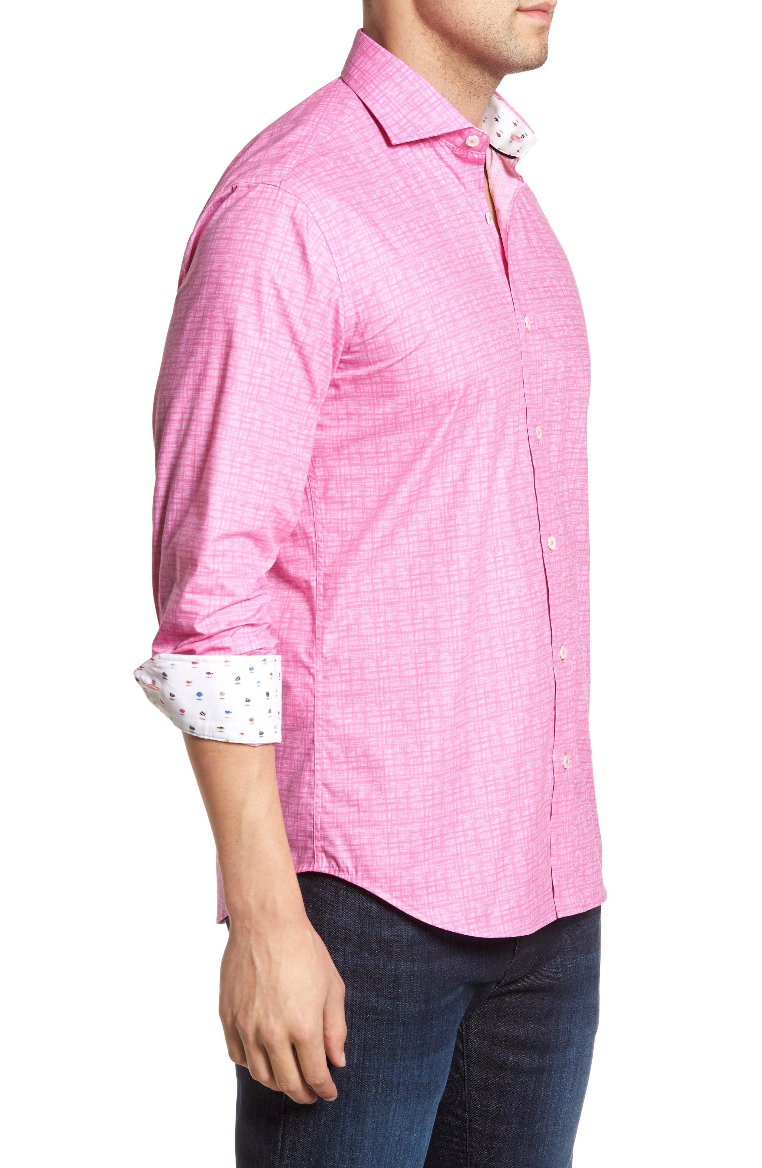 Freehand Shaped Fit Sport Shirt,                             Alternate thumbnail 9, color,                             Pink