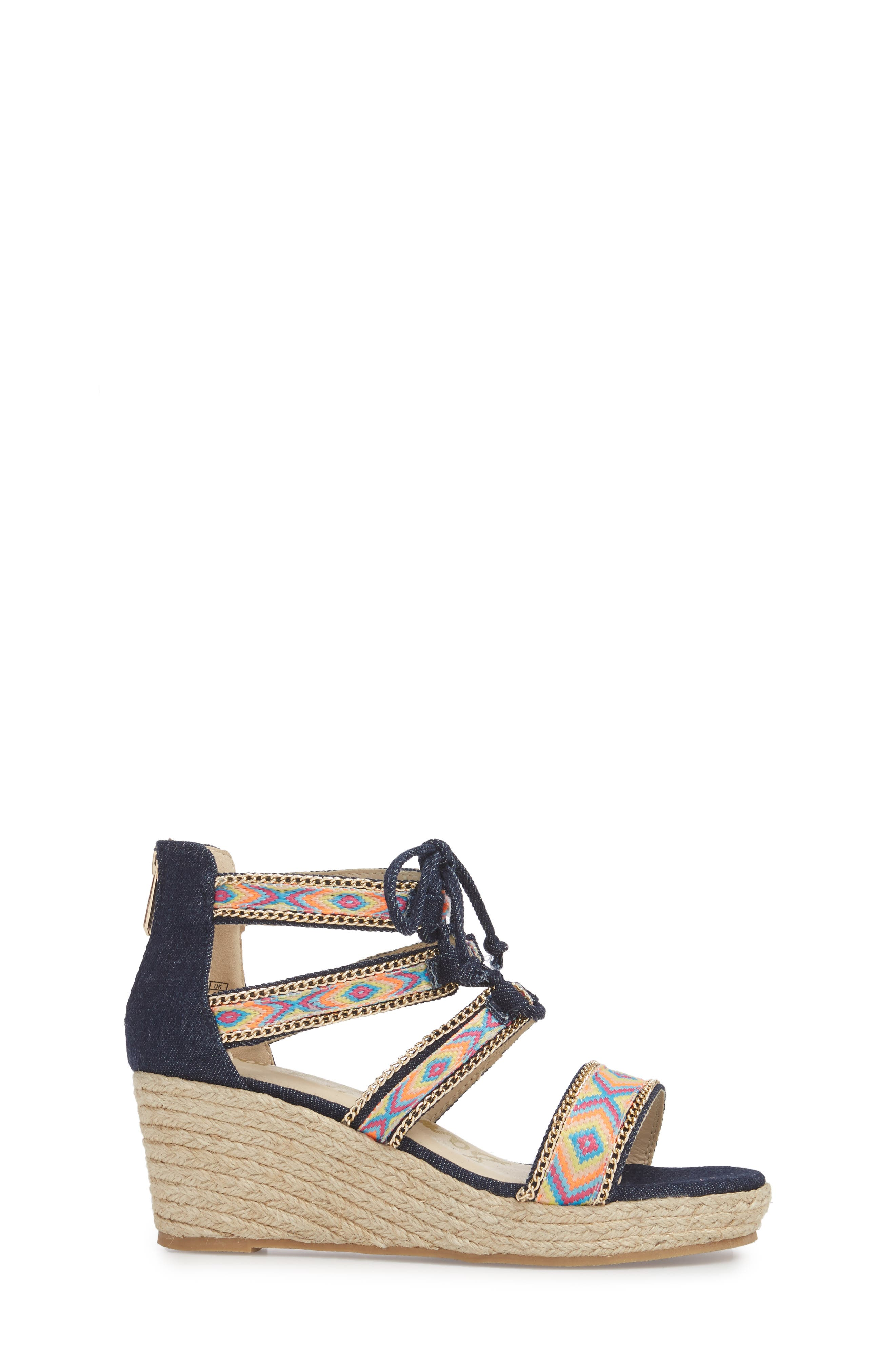 Elsie Dita Wedge Sandal,                             Alternate thumbnail 3, color,                             Dark Blue Fabric