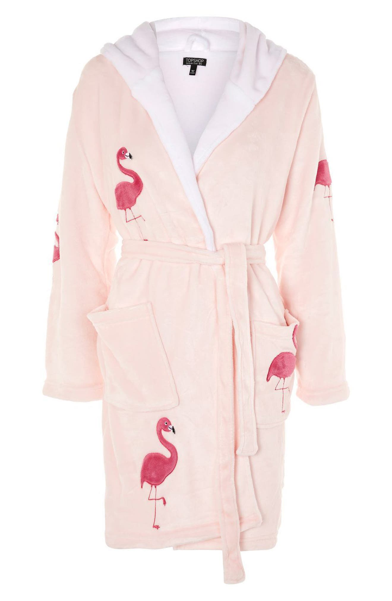 Flamingo Hooded Robe,                             Alternate thumbnail 3, color,                             Pink Multi