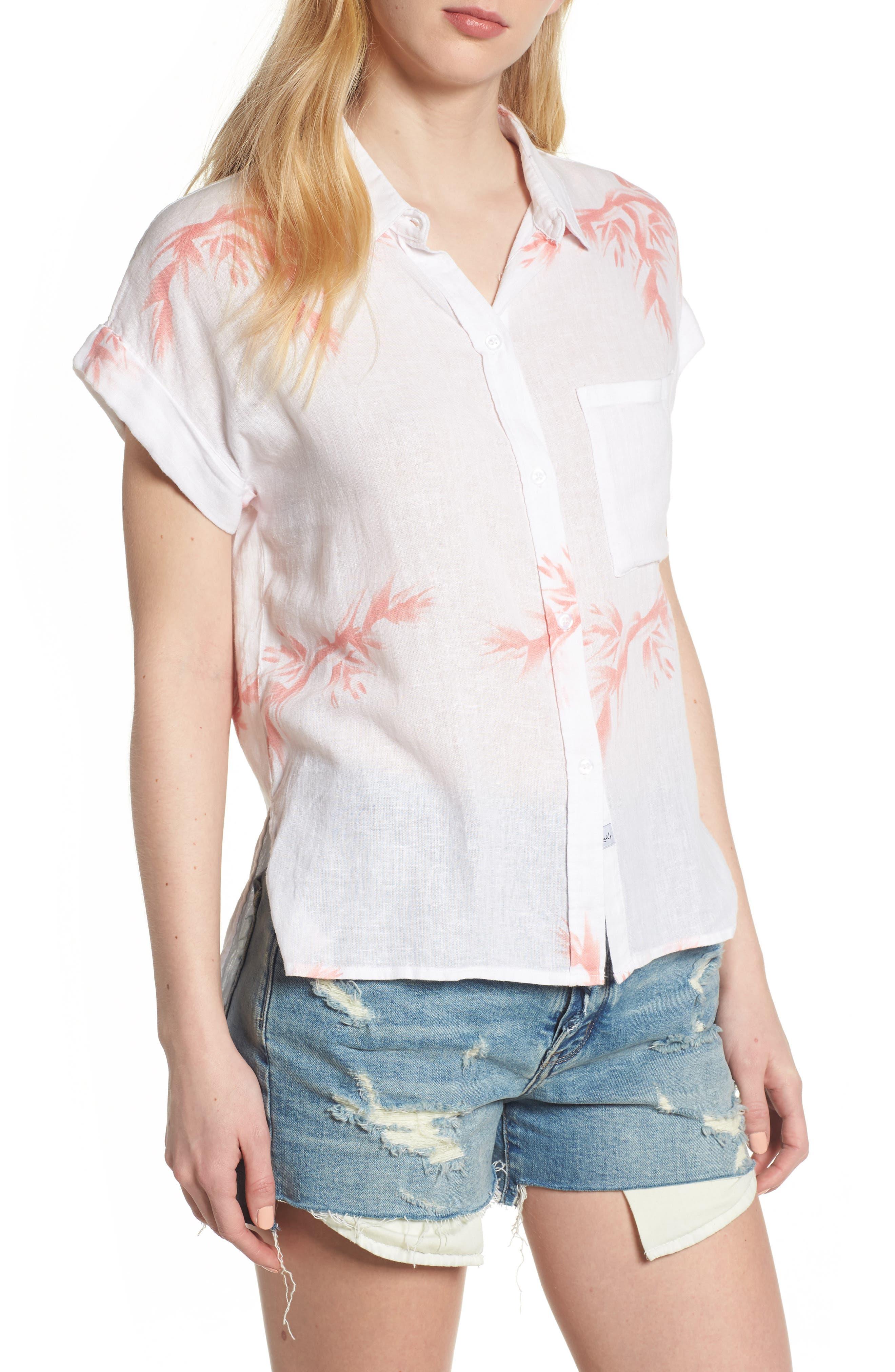 Whitney Birds of Paradise Linen Blend Shirt,                             Main thumbnail 1, color,                             Blush Birds Of Paradise