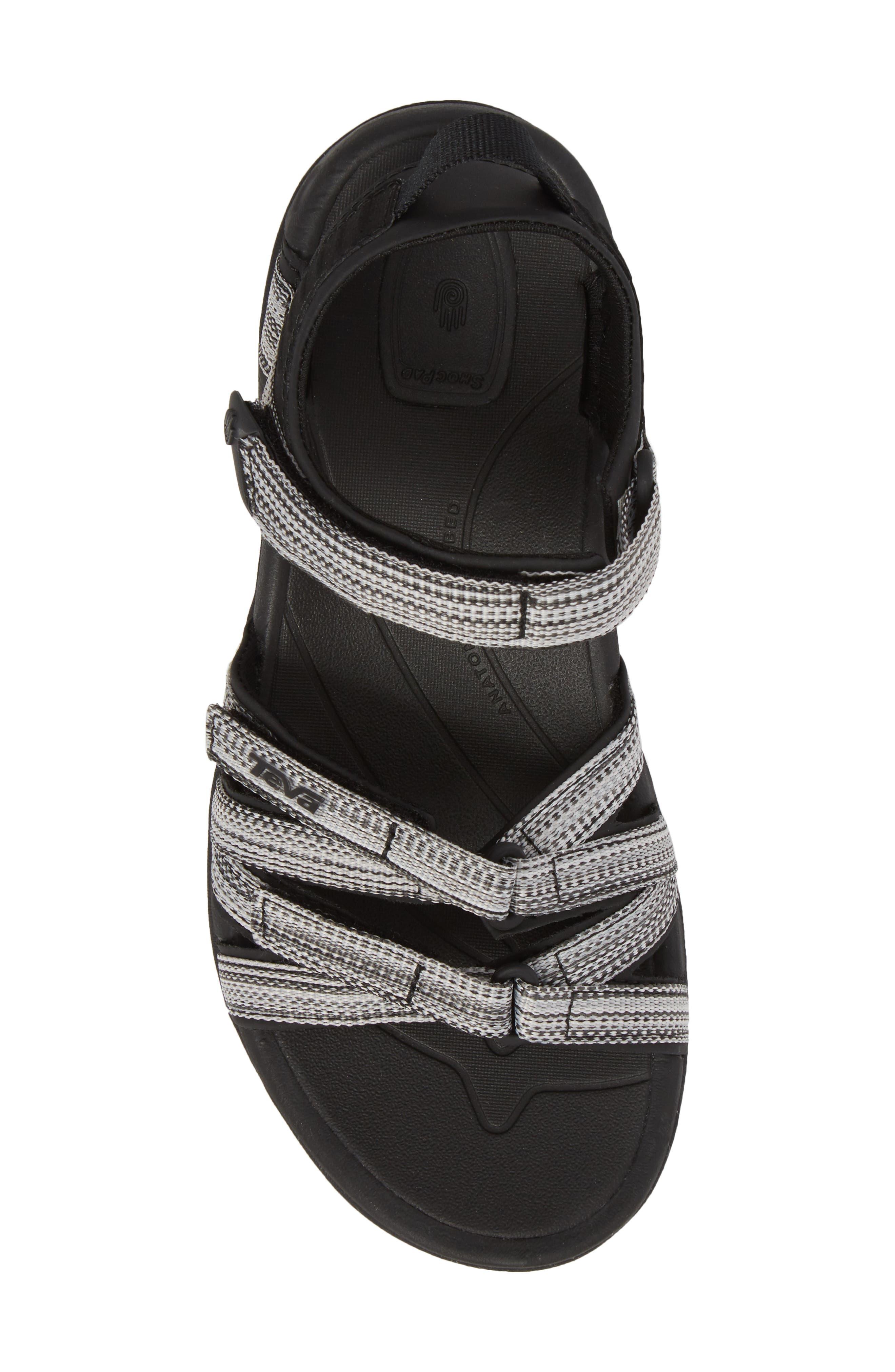 'Tirra' Sandal,                             Alternate thumbnail 5, color,                             Black/ White Multi Fabric