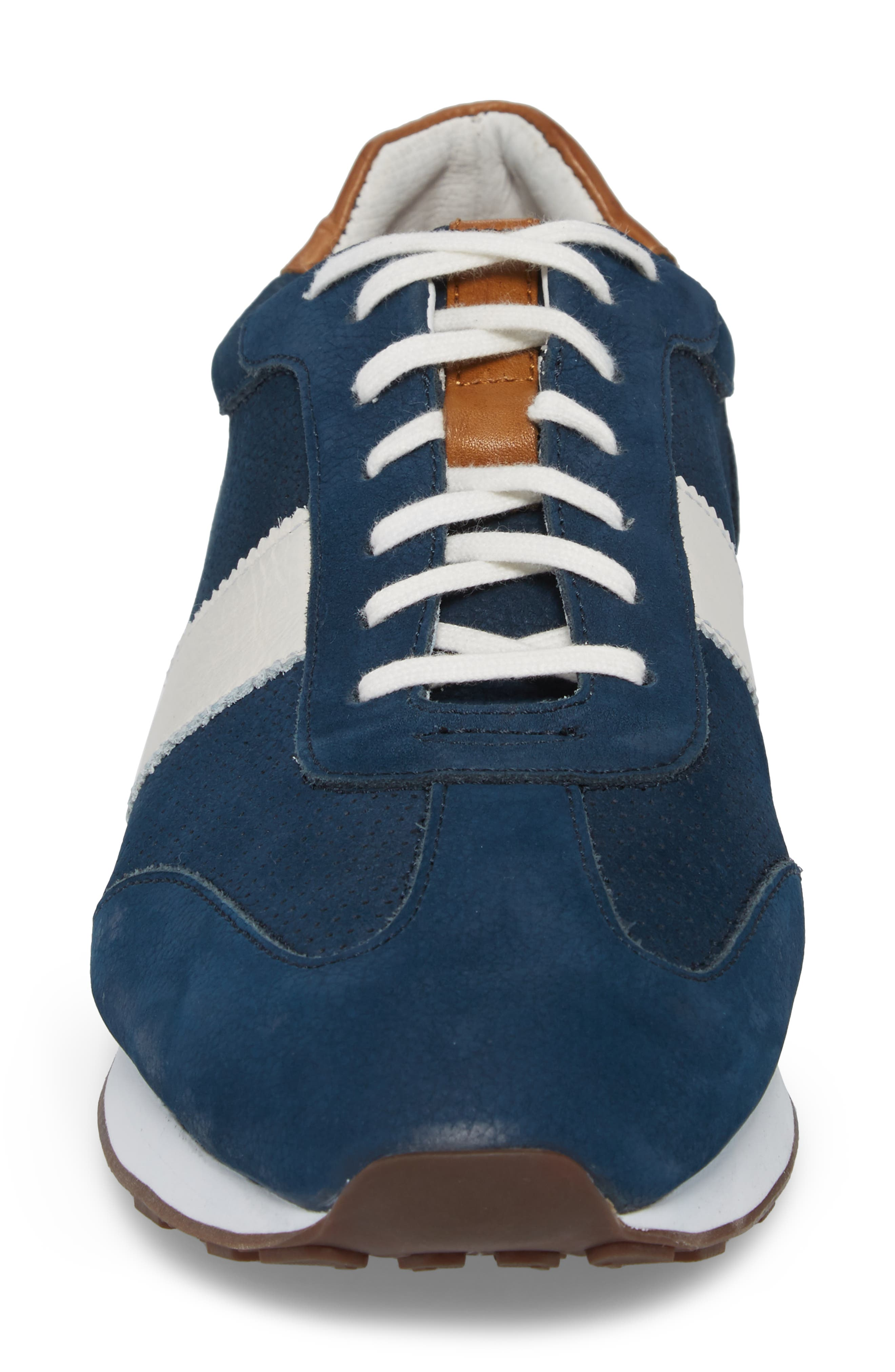Malek Perforated Low Top Sneaker,                             Alternate thumbnail 4, color,                             Navy Nubuck Leather