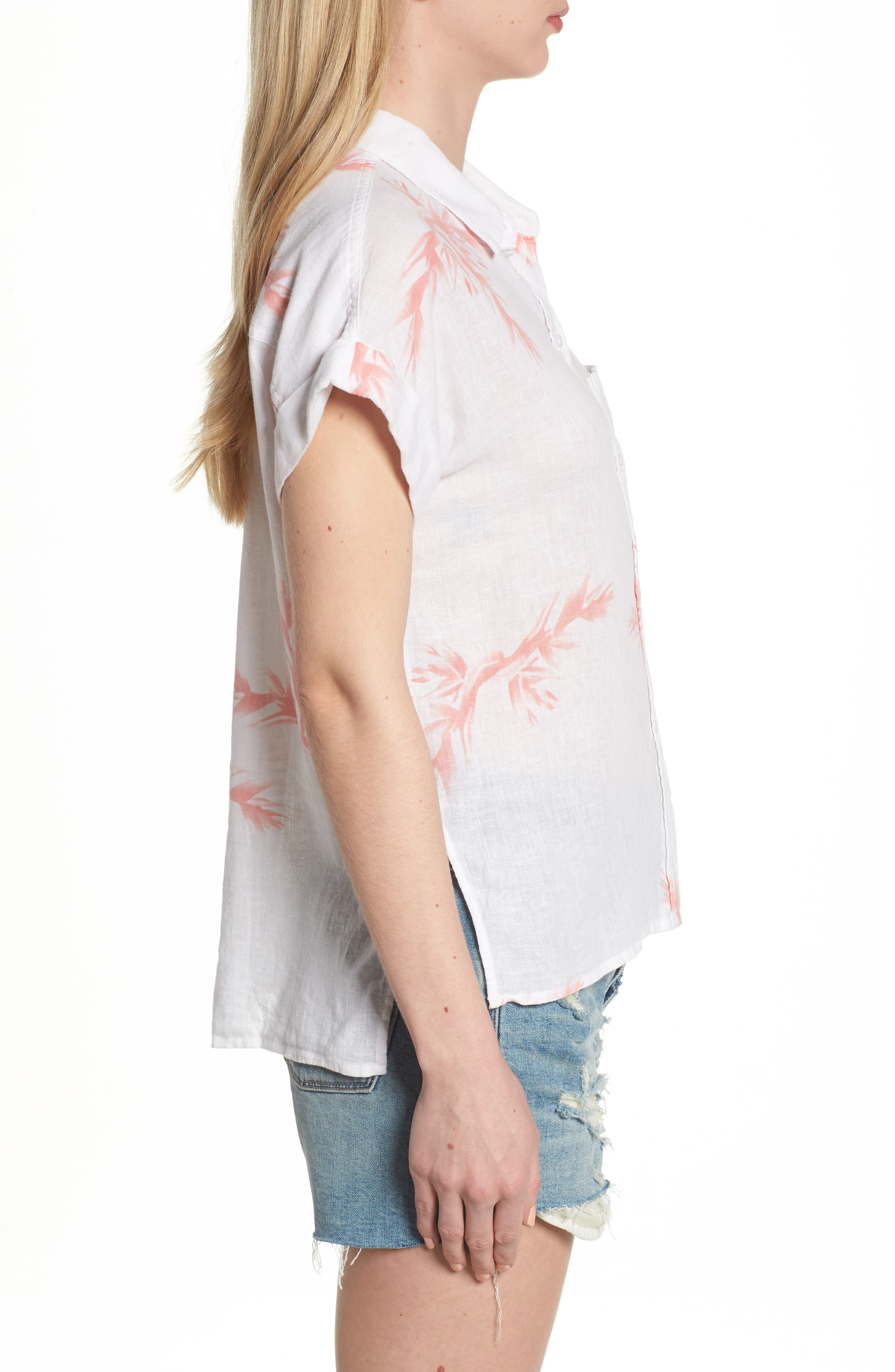 Whitney Birds of Paradise Linen Blend Shirt,                             Alternate thumbnail 3, color,                             Blush Birds Of Paradise