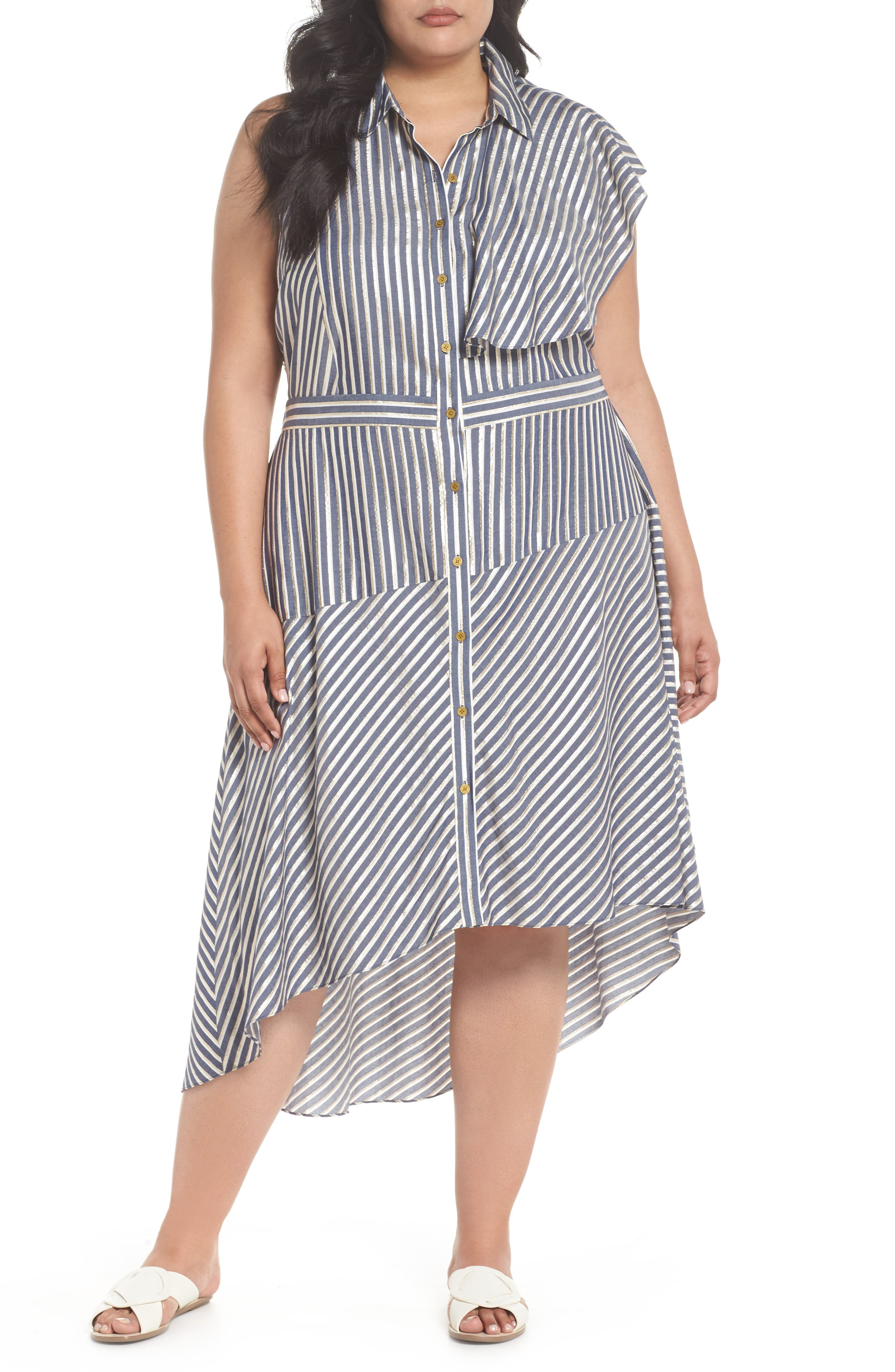 Stripe Asymmetrical Ruffle Shirtdress,                             Main thumbnail 1, color,                             True Navy Combo