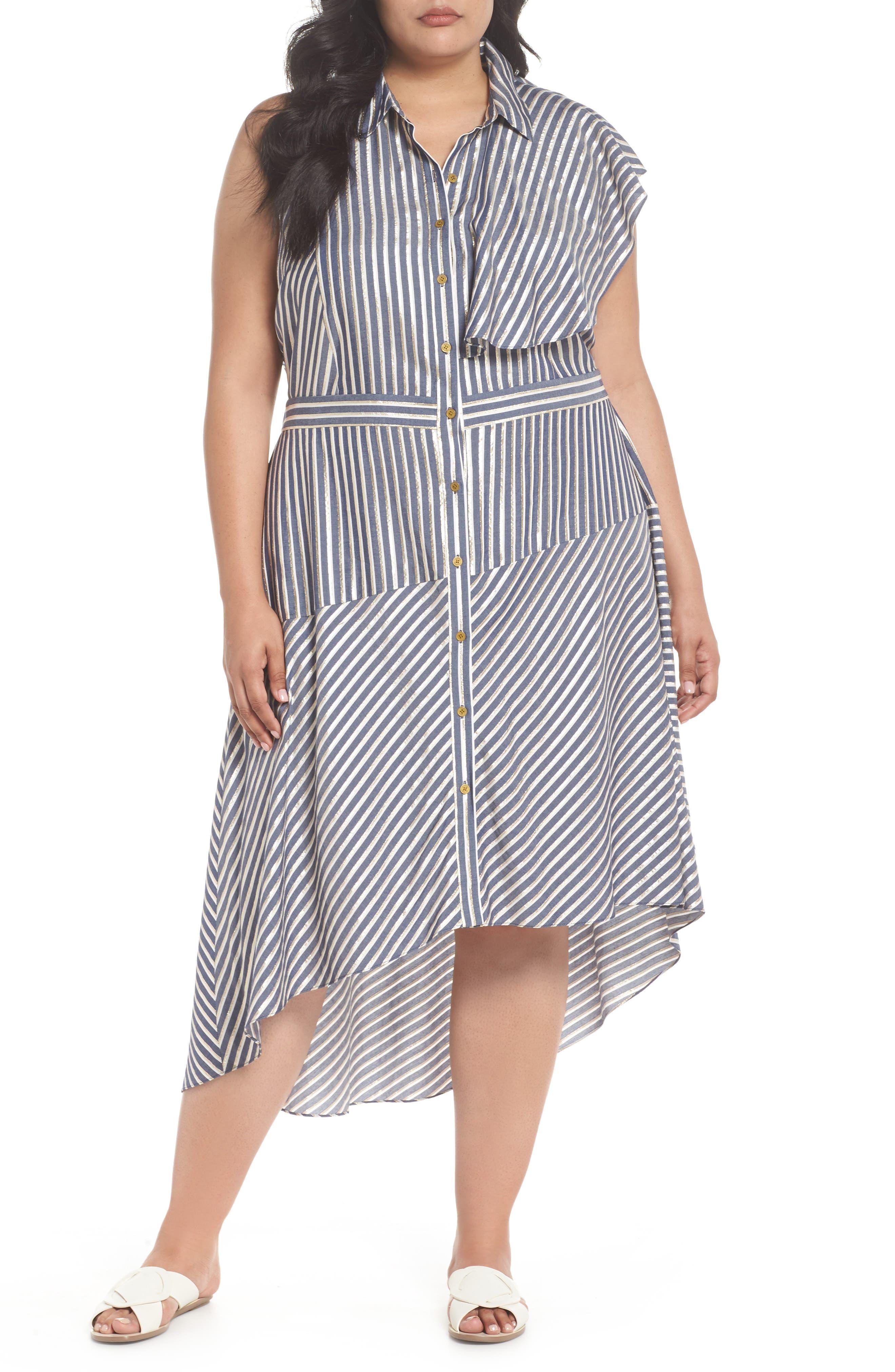 Stripe Asymmetrical Ruffle Shirtdress,                         Main,                         color, True Navy Combo