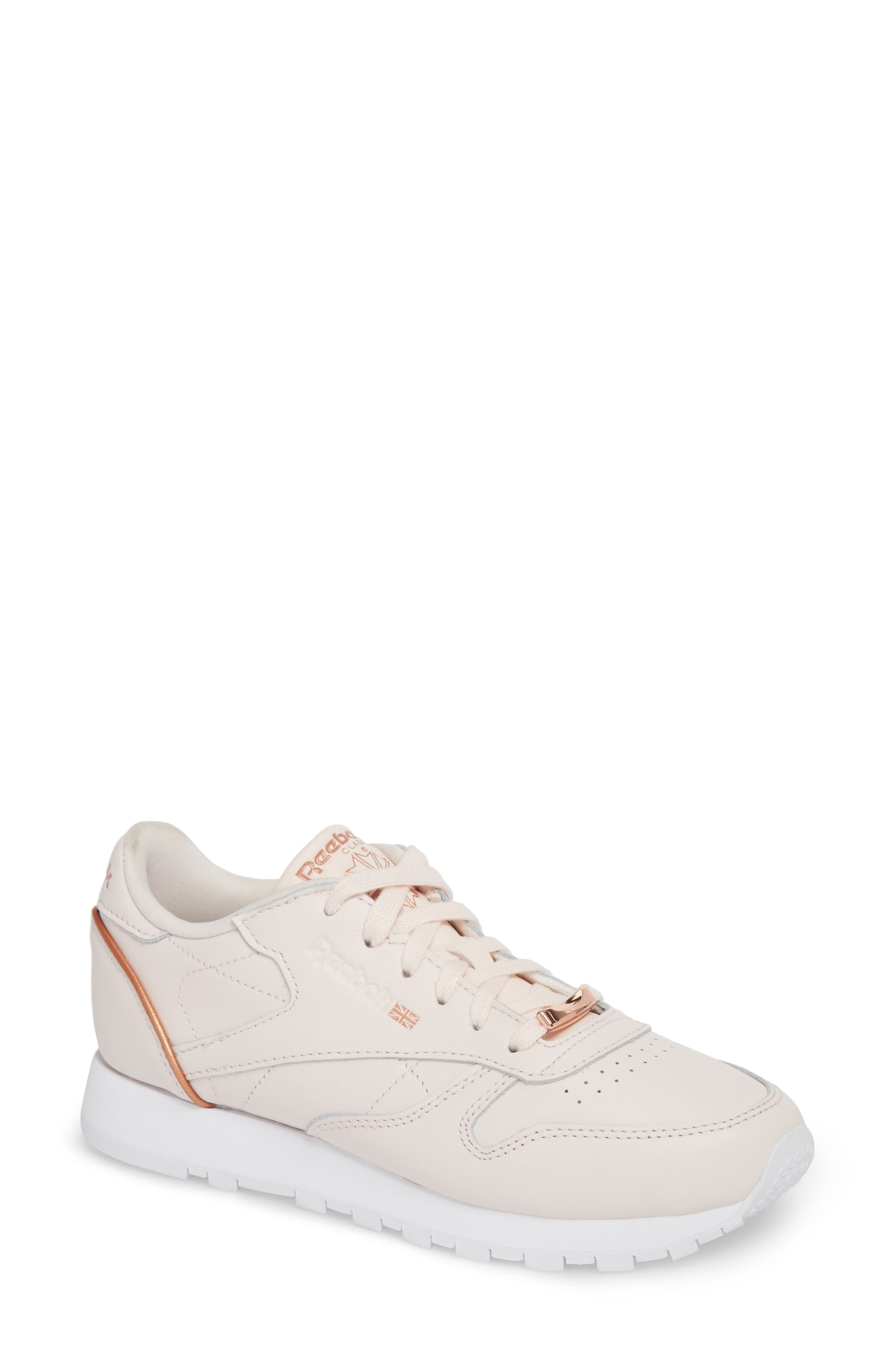 Classic Leather HW Sneaker,                         Main,                         color, Pale Pink/ White/ Rose Gold