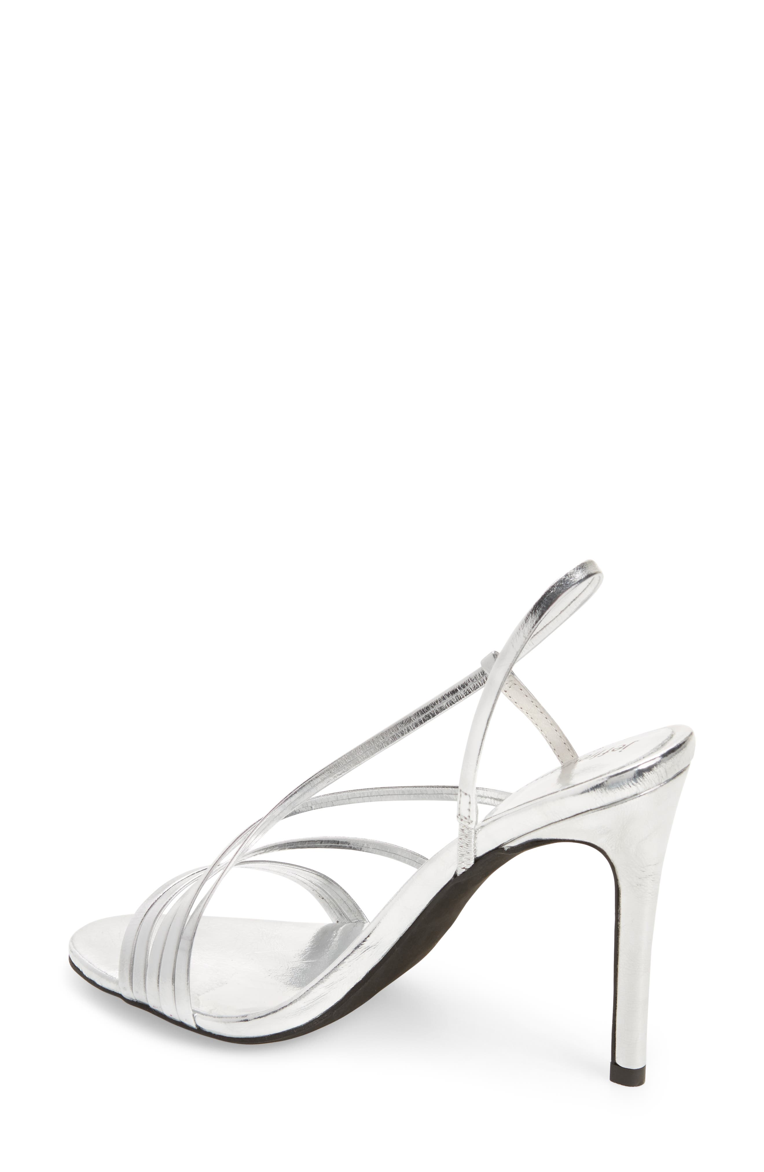 Lilian Asymmetrical Strappy Sandal,                             Alternate thumbnail 2, color,                             Silver Leather