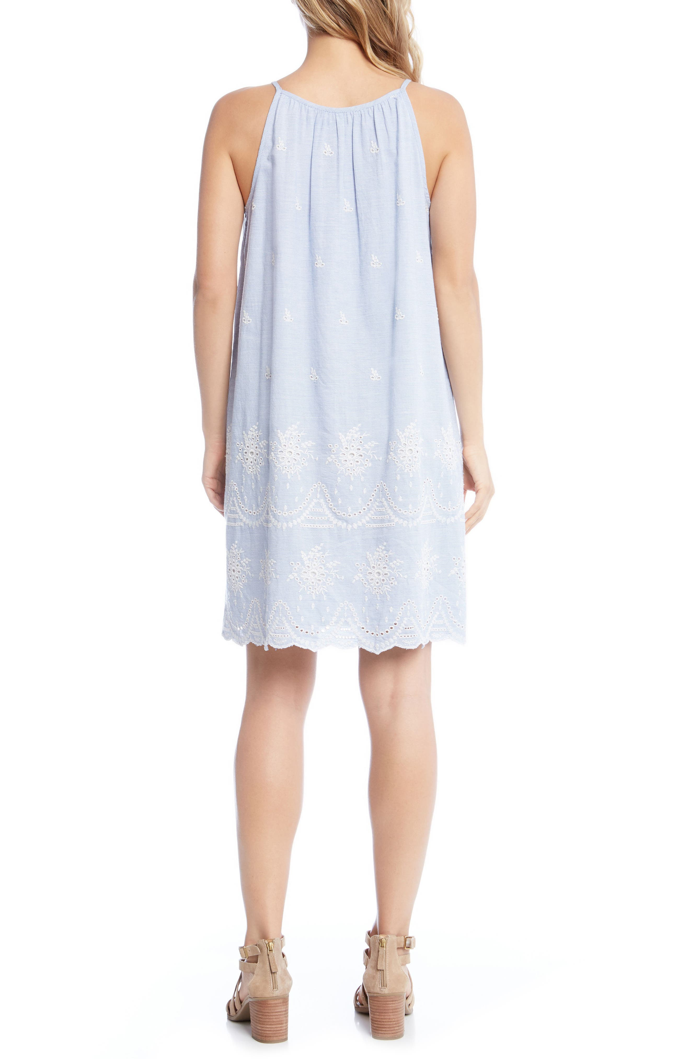 Embroidered Eyelet Shift Dress,                             Alternate thumbnail 2, color,                             Striped