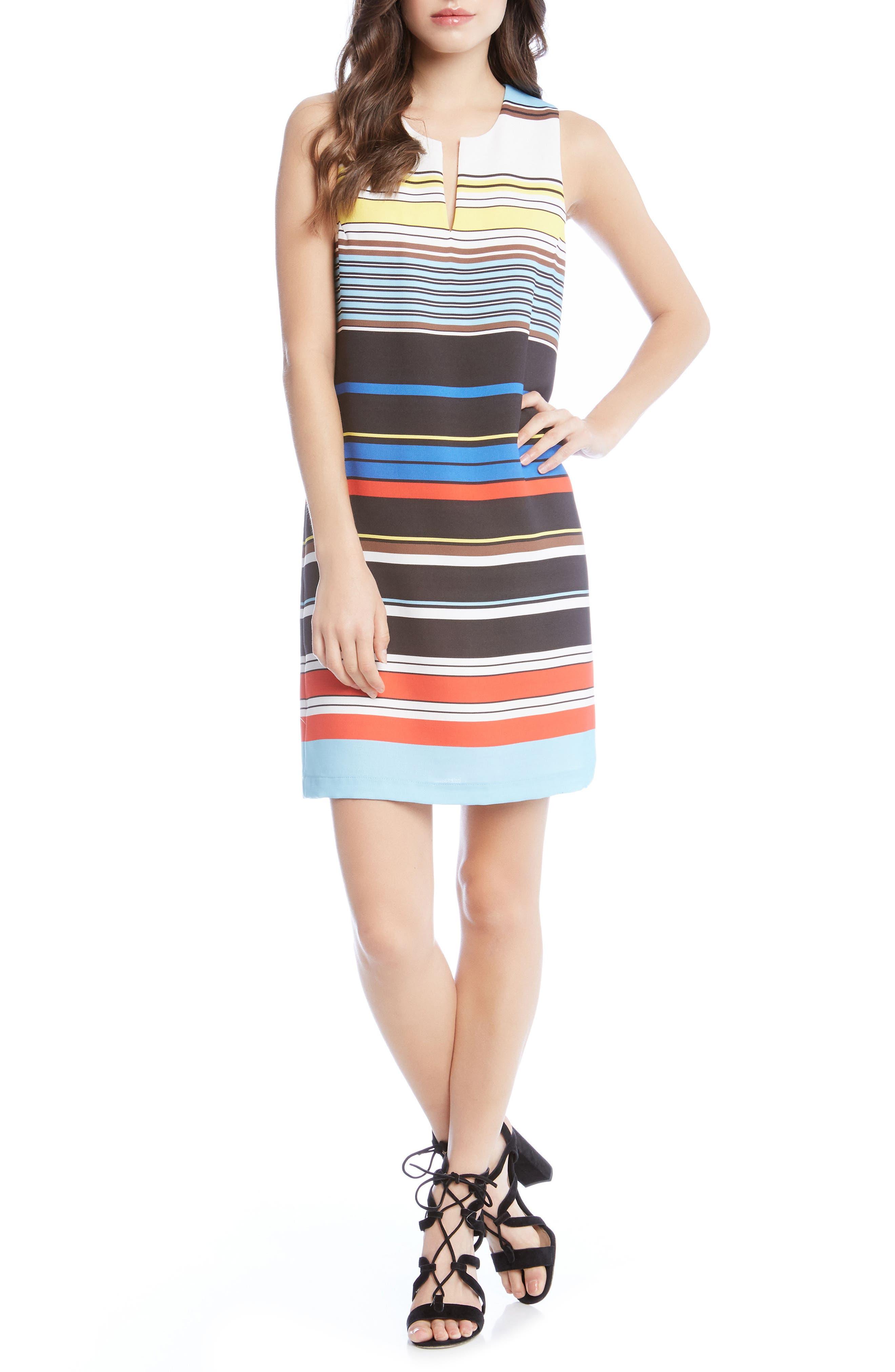 Modern Art Shift Dress,                             Main thumbnail 1, color,                             Striped