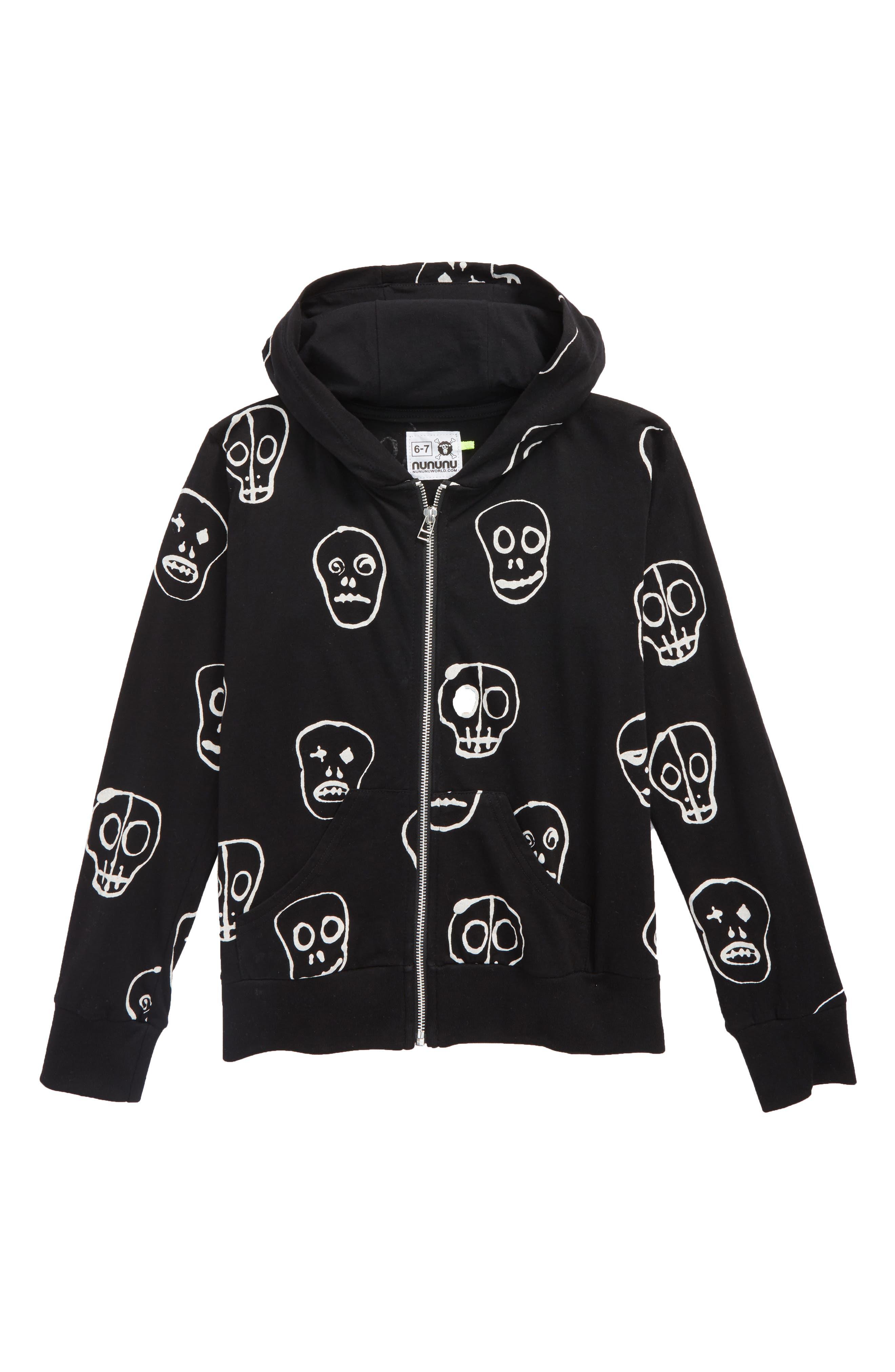 Skull Mask Zip Front Hoodie,                             Main thumbnail 1, color,                             Black