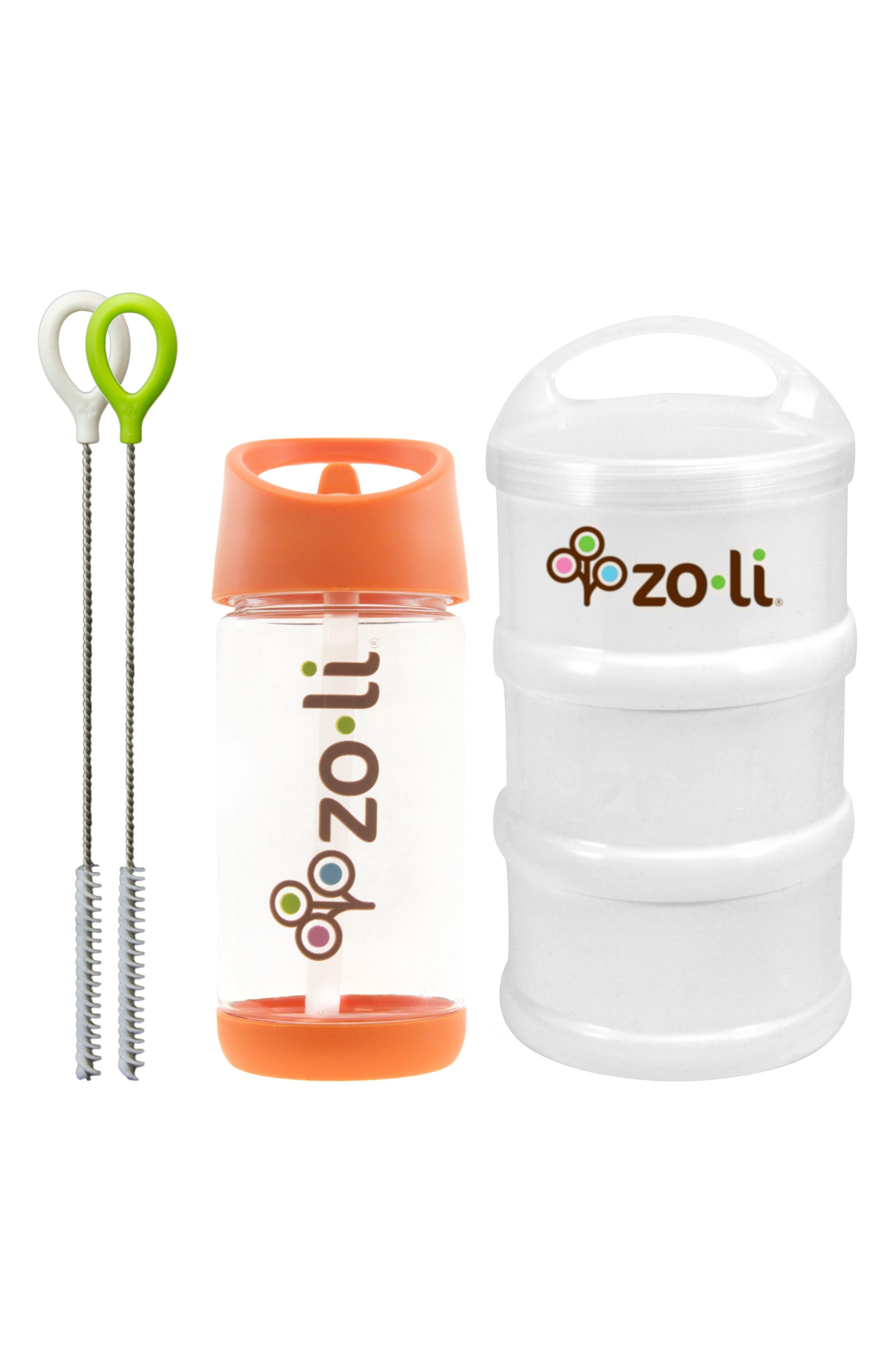 Snack & Water Bottle Set,                         Main,                         color, Orange/ White