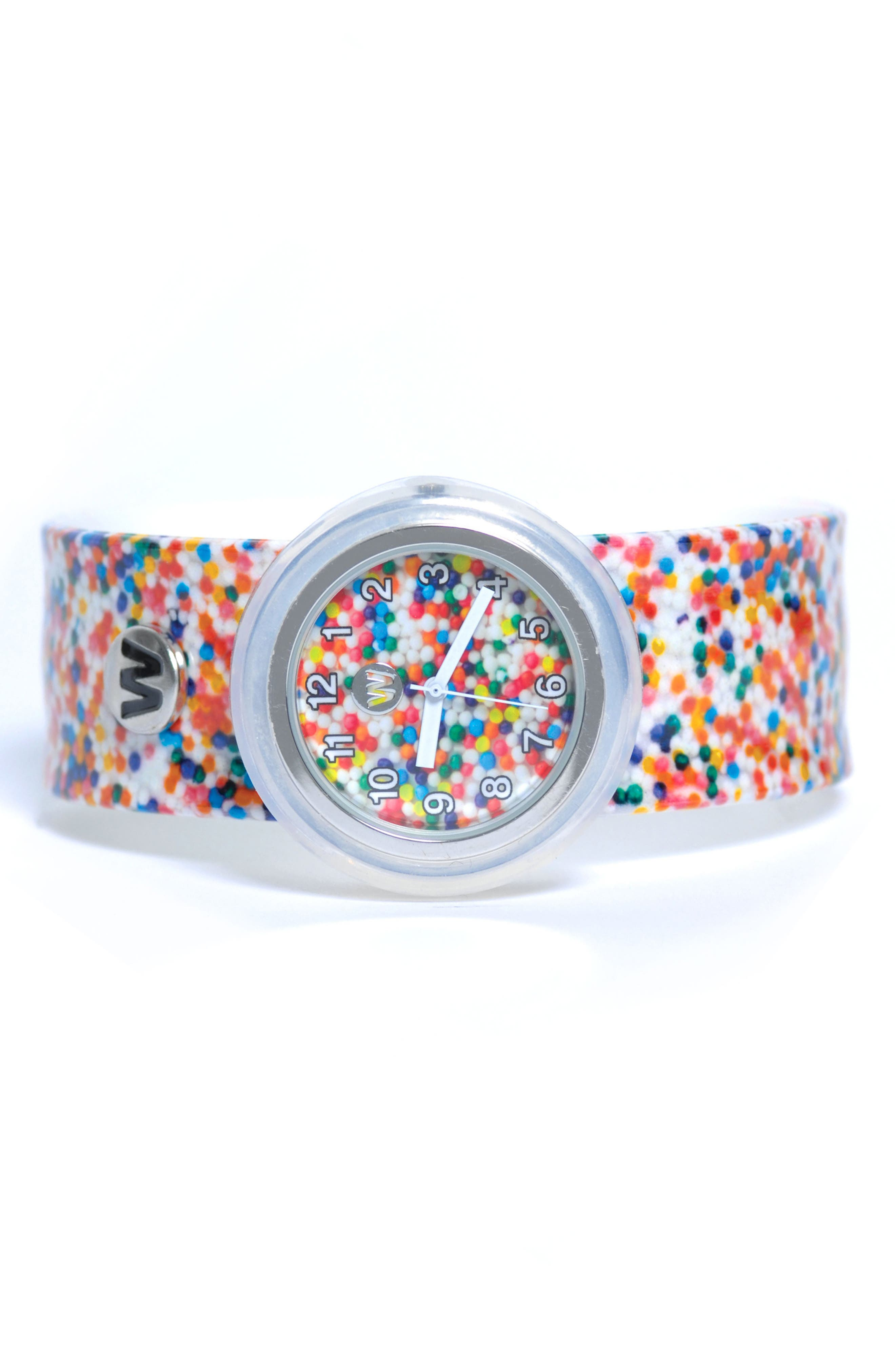 Sprinkle Dots Slap Watch,                         Main,                         color, White