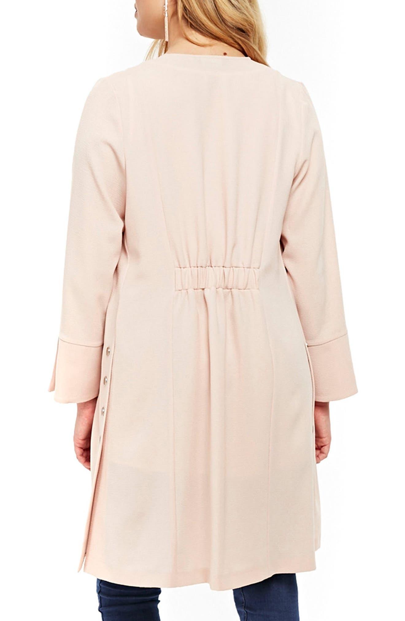 Stud Detail Longline Jacket,                             Alternate thumbnail 2, color,                             Blush