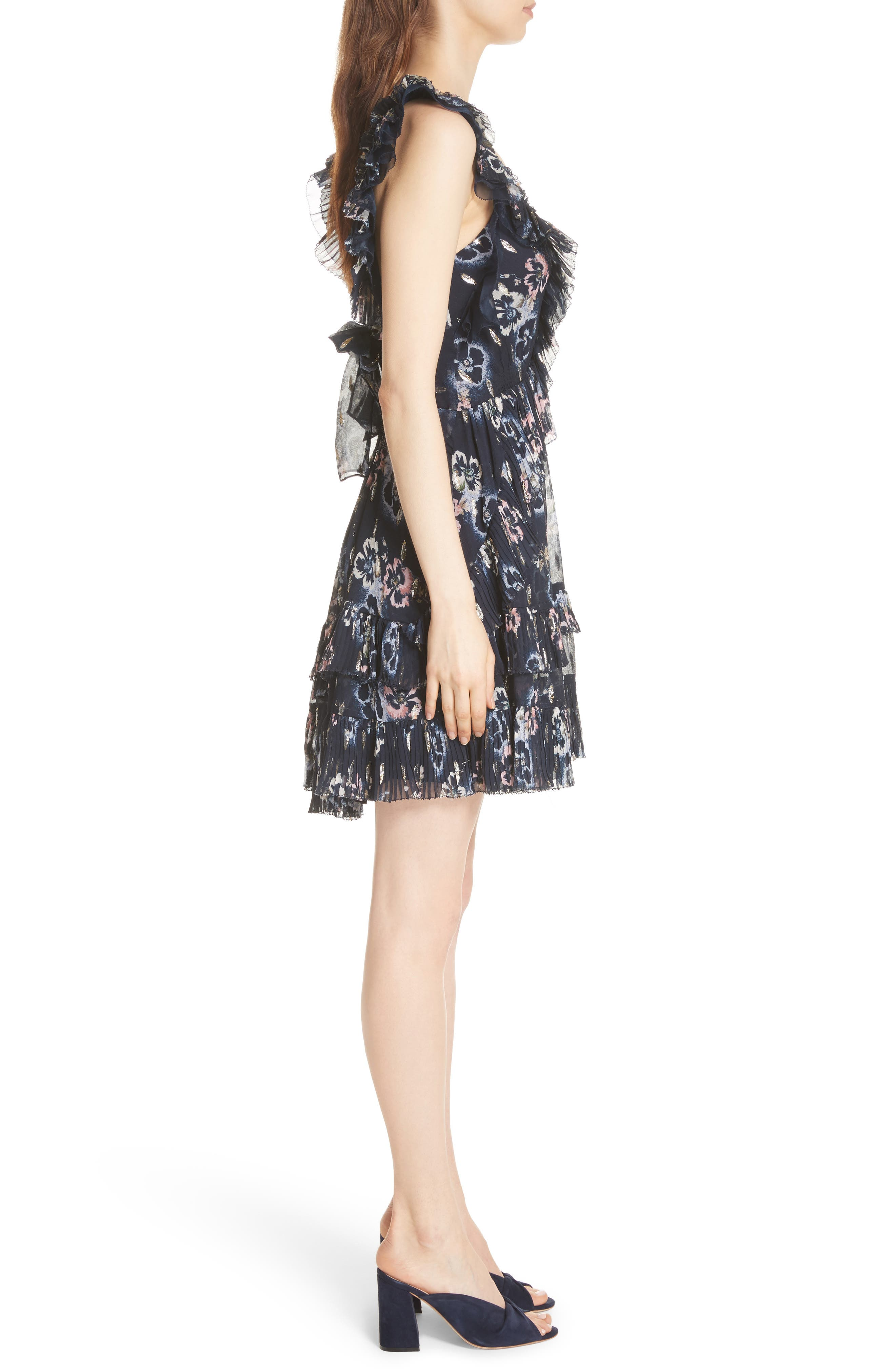 Faded Floral Fit & Flare Dress,                             Alternate thumbnail 3, color,                             Navy