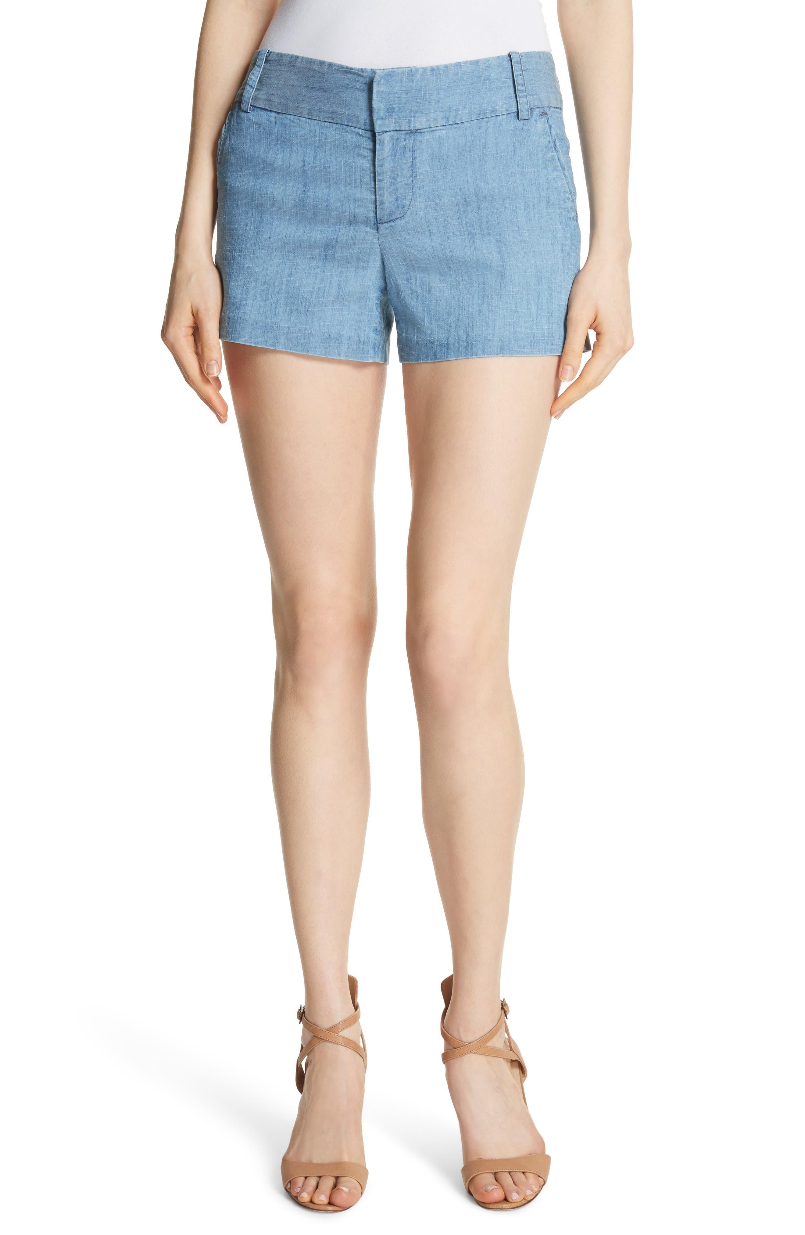 Cady Lyocell Blend Shorts,                             Main thumbnail 1, color,                             Light Chambray