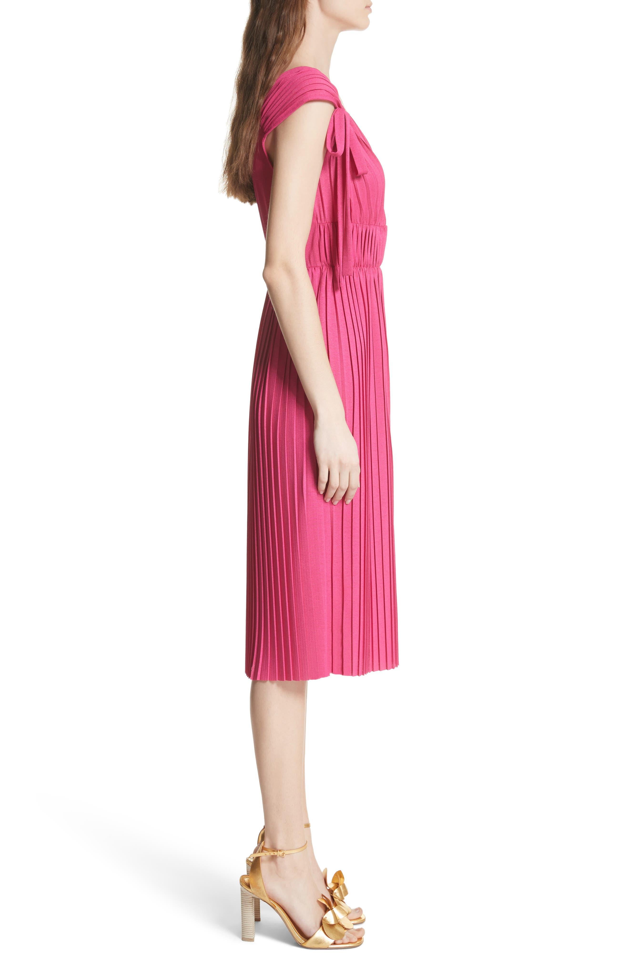 Grecian Pleat Dress,                             Alternate thumbnail 3, color,                             Cyclamen