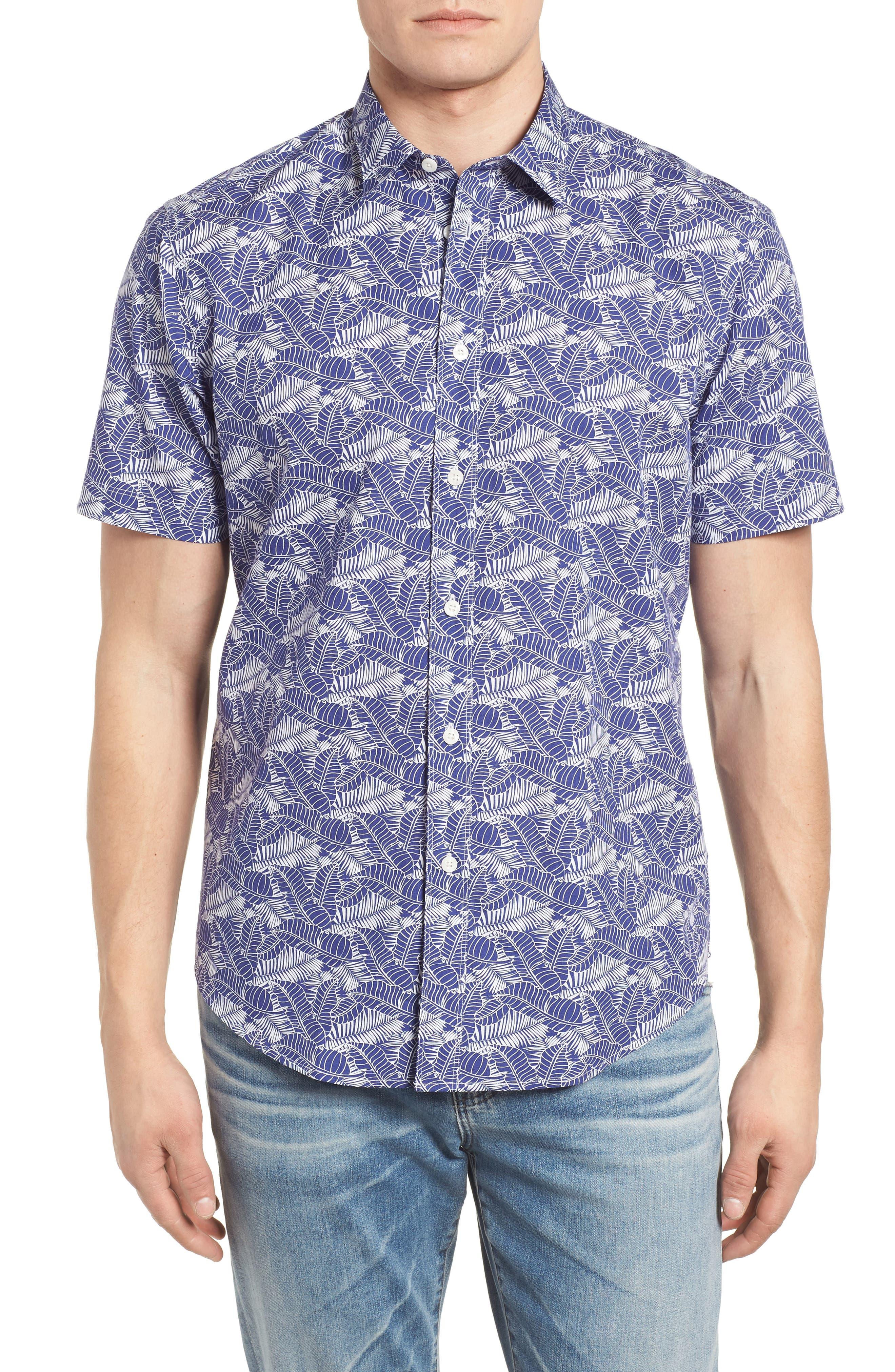 Lajoyas Regular Fit Palm Print Sport Shirt,                             Main thumbnail 1, color,                             Blue