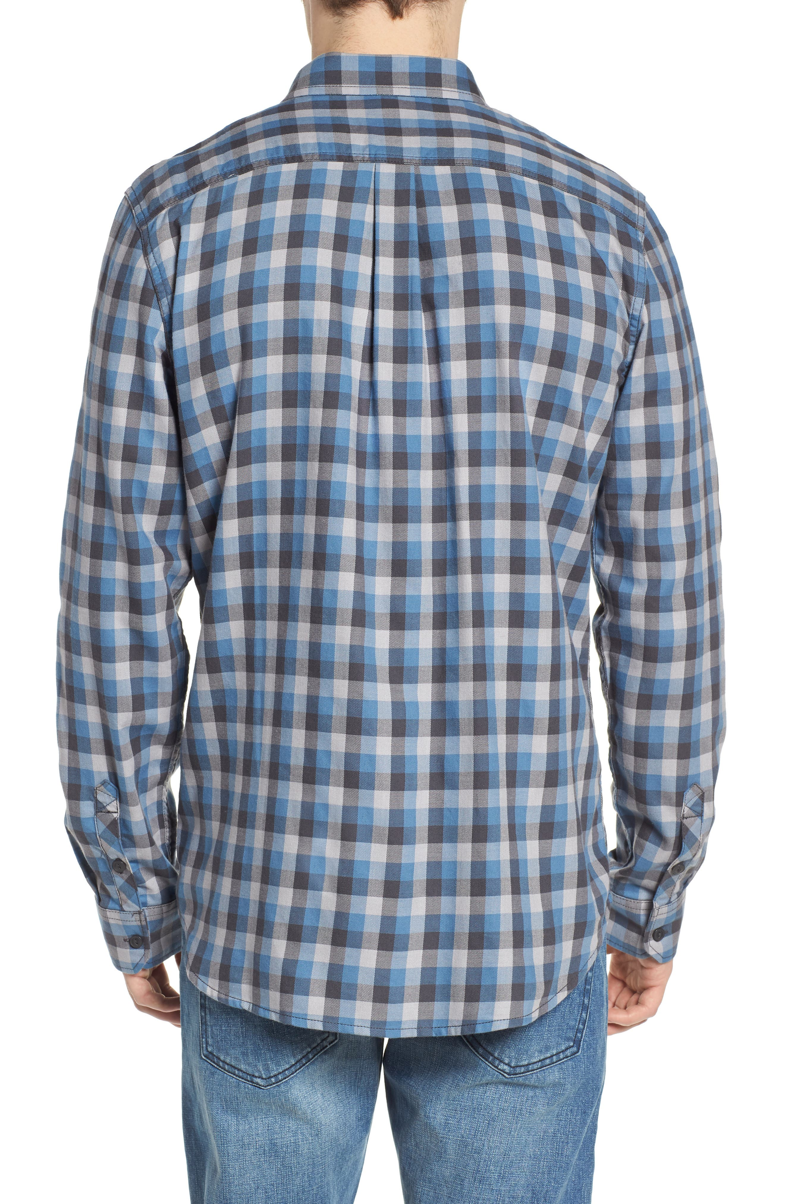 Alameda II Plaid Flannel Shirt,                             Alternate thumbnail 2, color,                             Asphalt/ Copen Blue
