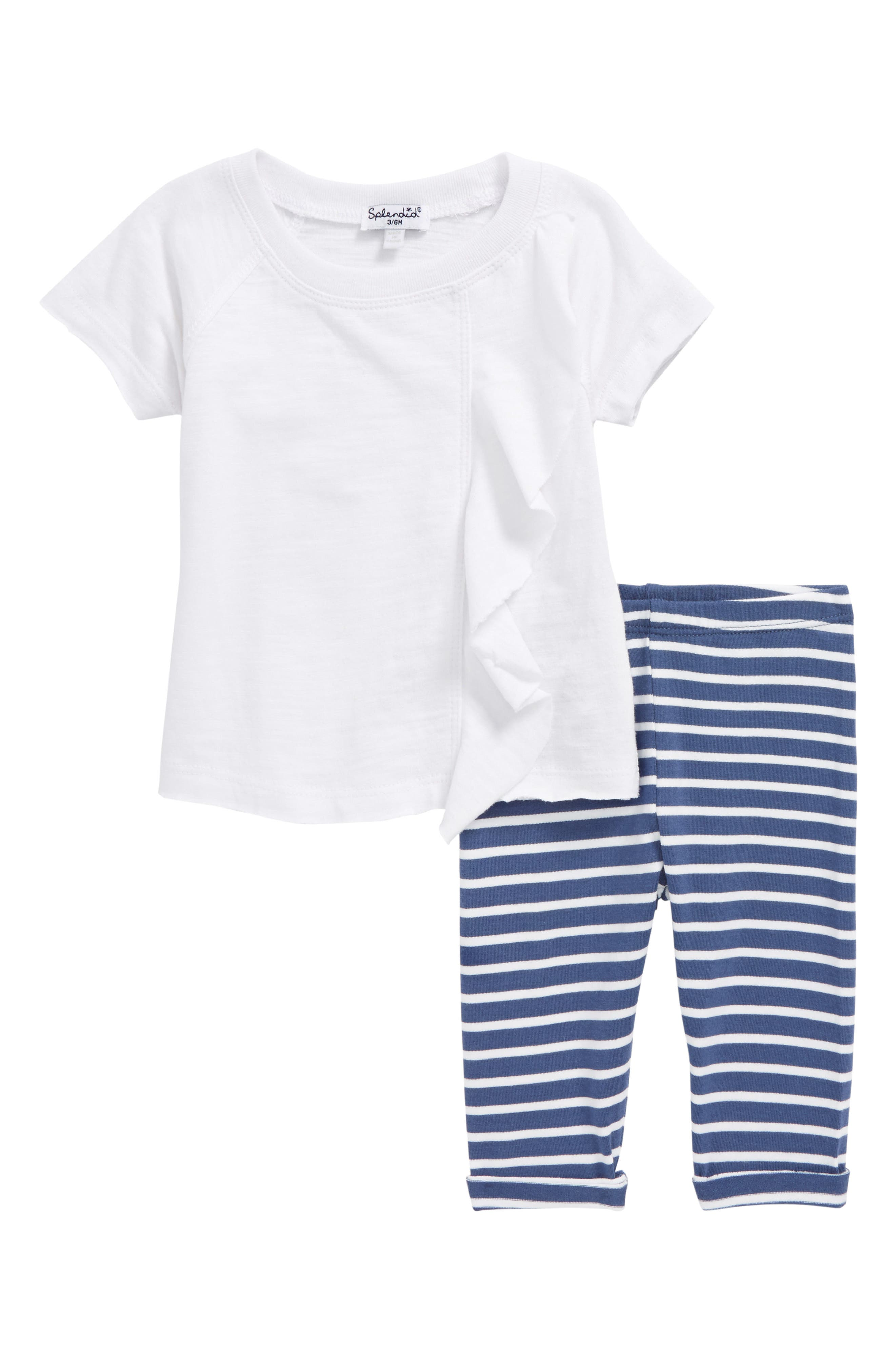 Ruffle Tee & Stripe Leggings Set,                         Main,                         color, Optic White