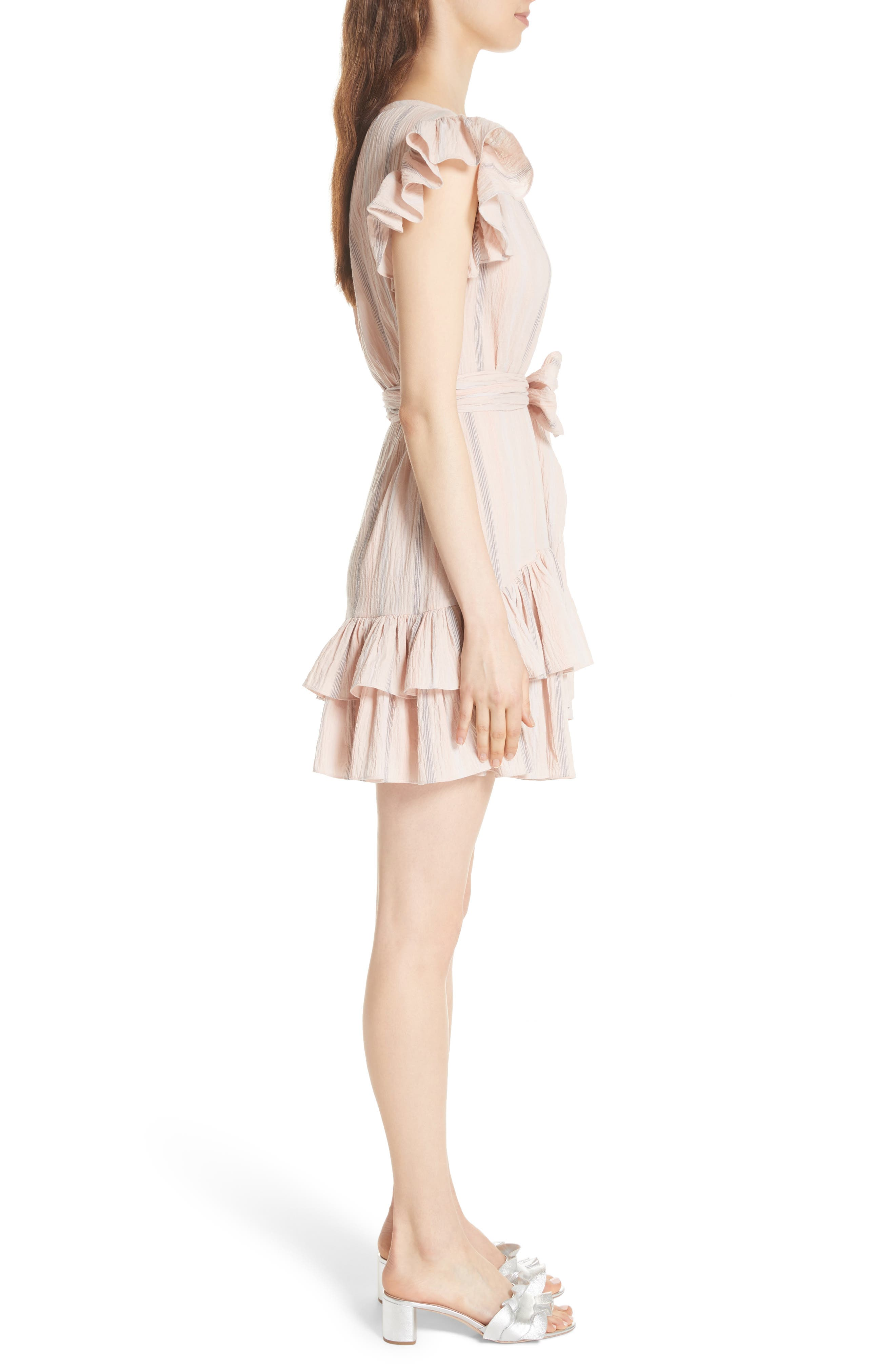Stripe Ruffle Cap Sleeve Dress,                             Alternate thumbnail 3, color,                             Ballet Combo