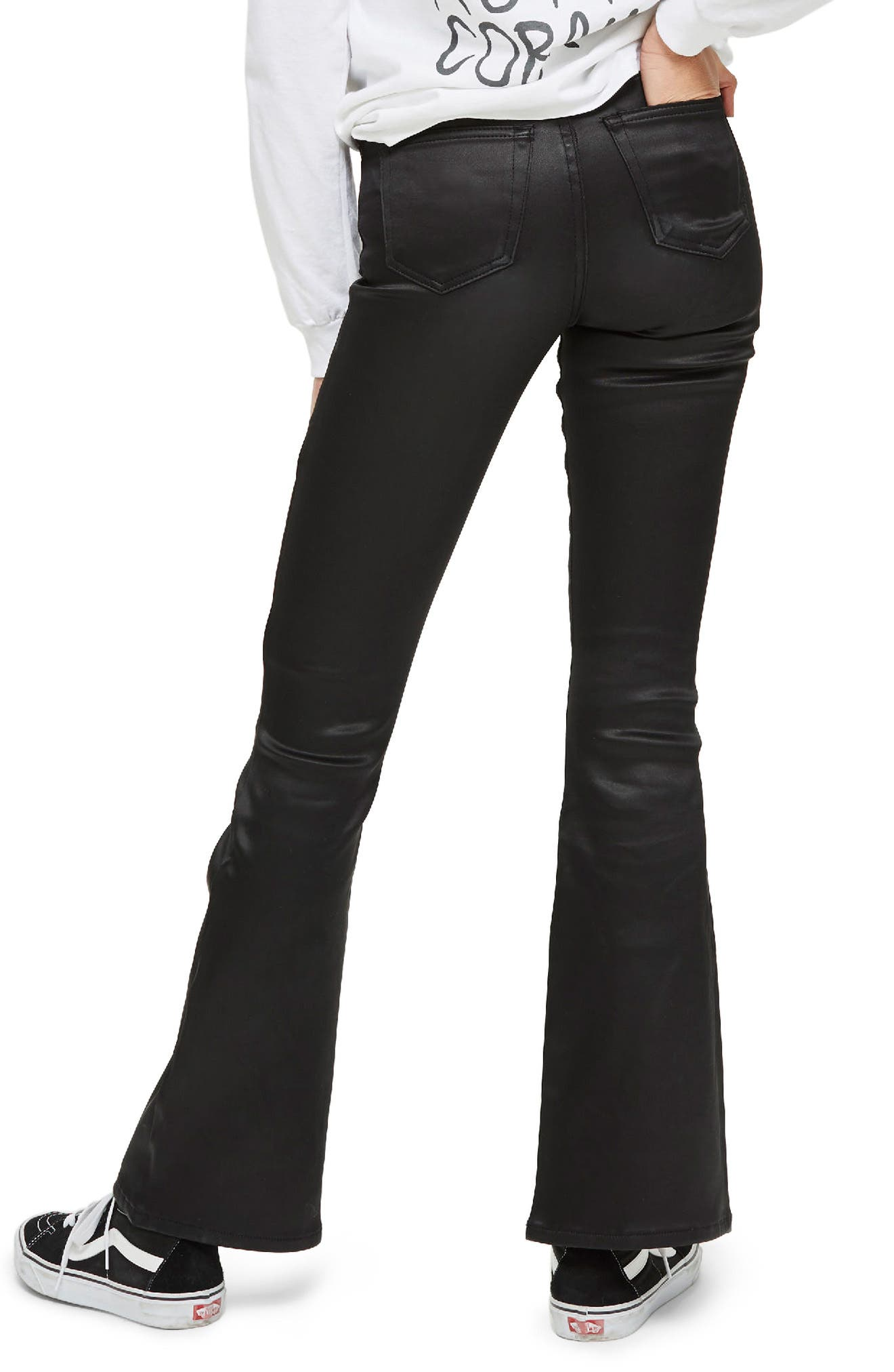 Jamie Sateen Flare Jeans,                             Alternate thumbnail 3, color,                             Black