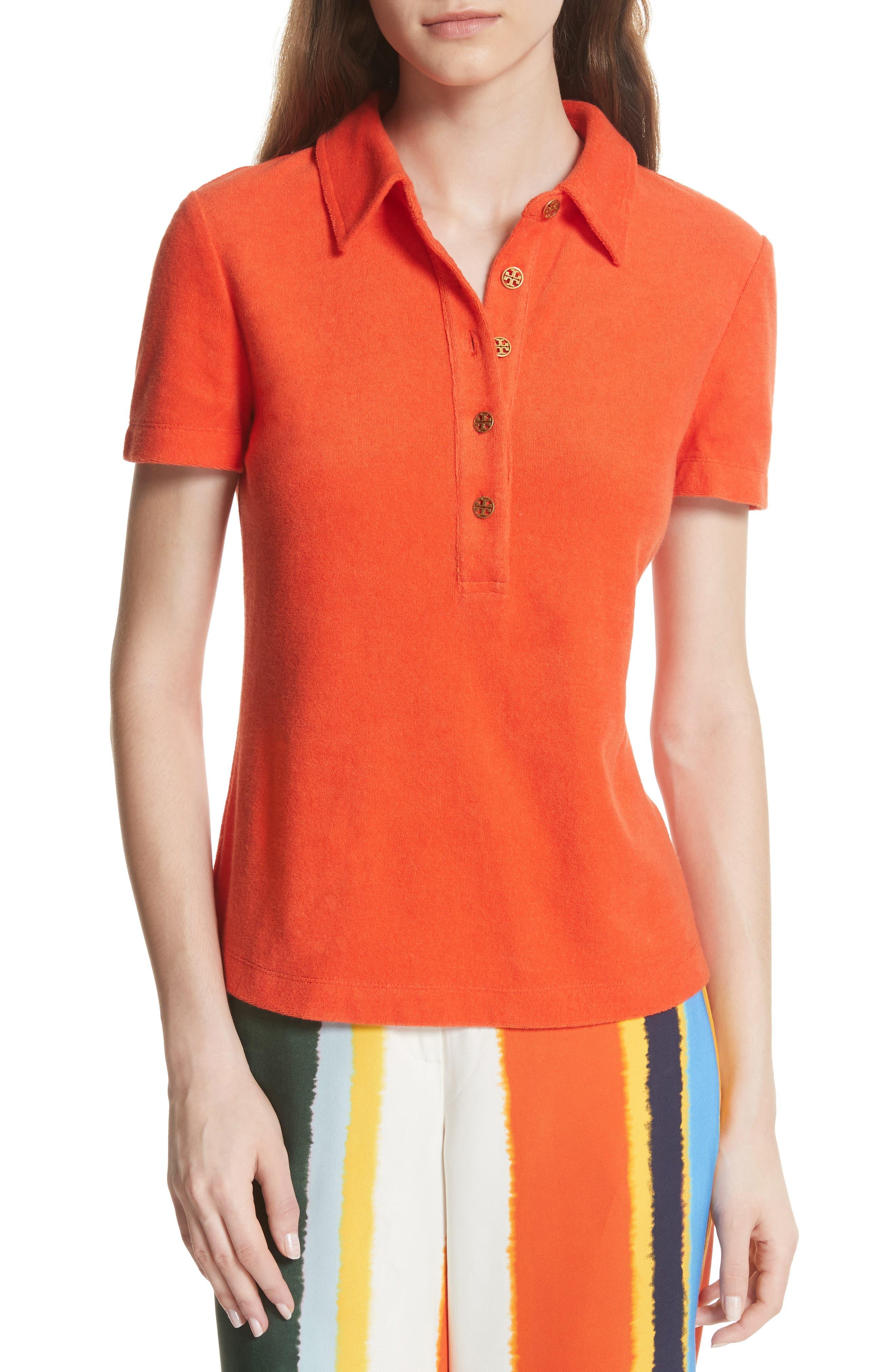 Lennox Terry Cloth Polo,                             Main thumbnail 1, color,                             Poppy Red