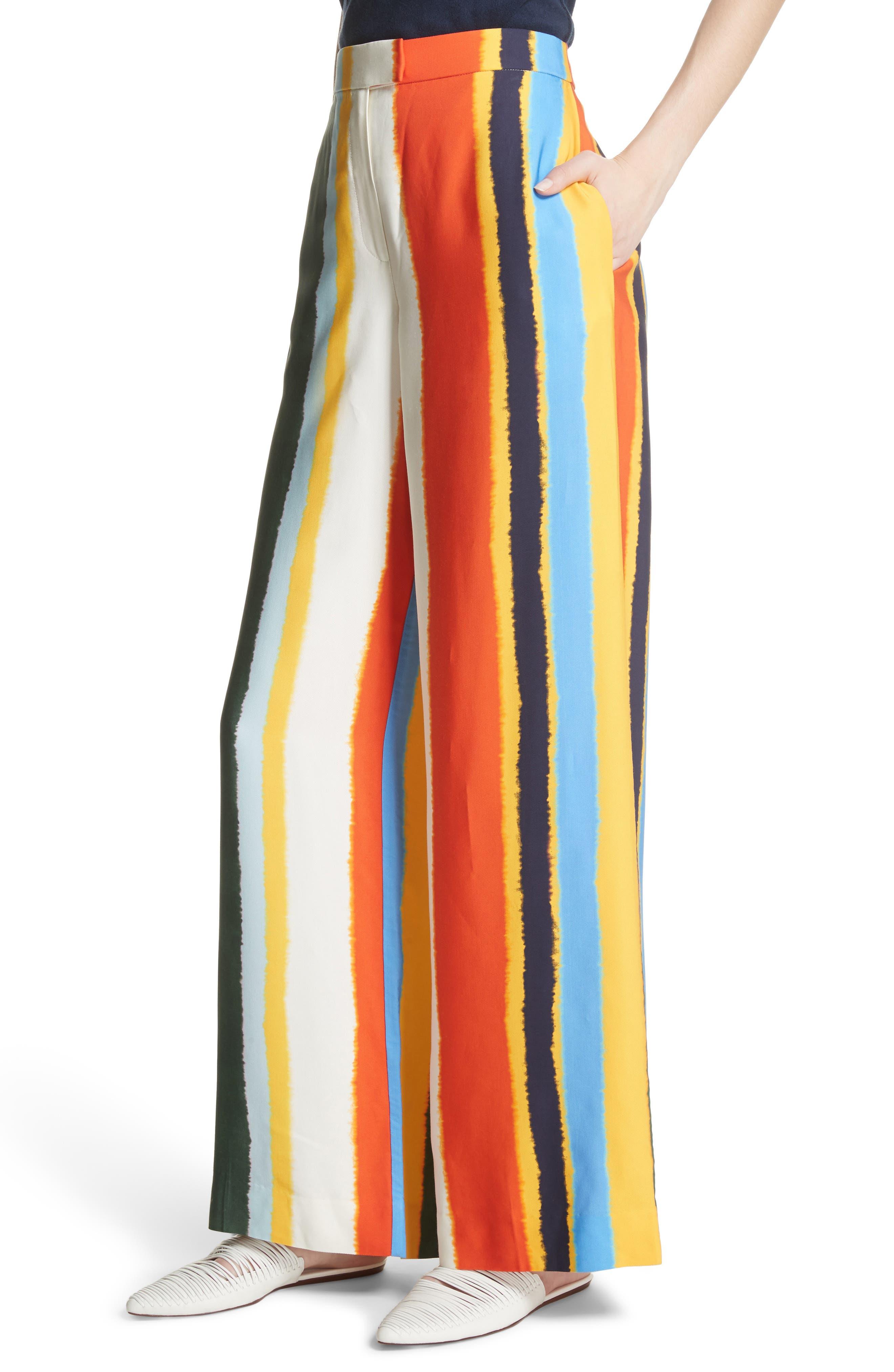 Fiona Stripe Wide Leg Pants,                             Alternate thumbnail 4, color,                             Balloon Stripe