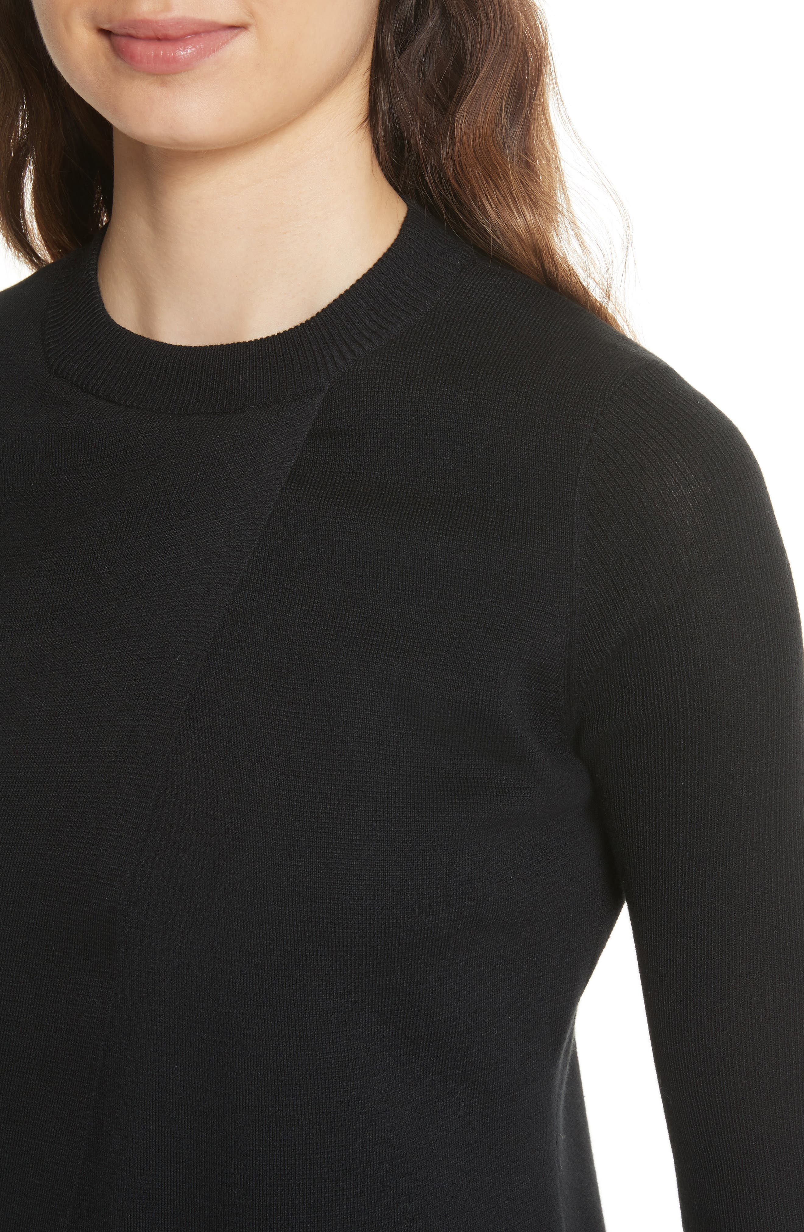 Mock Two-Piece Sweater,                             Alternate thumbnail 4, color,                             Black