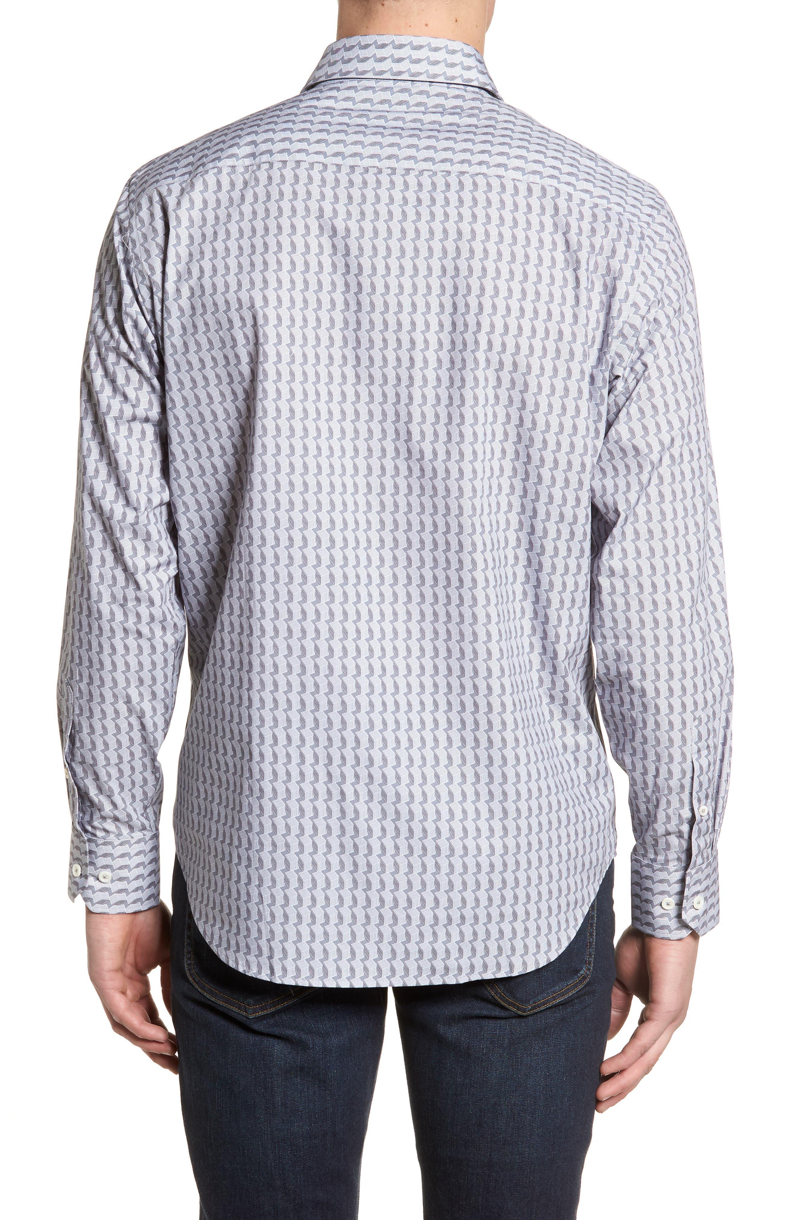 Classic Fit Woven Sport Shirt,                             Alternate thumbnail 2, color,                             Platinum