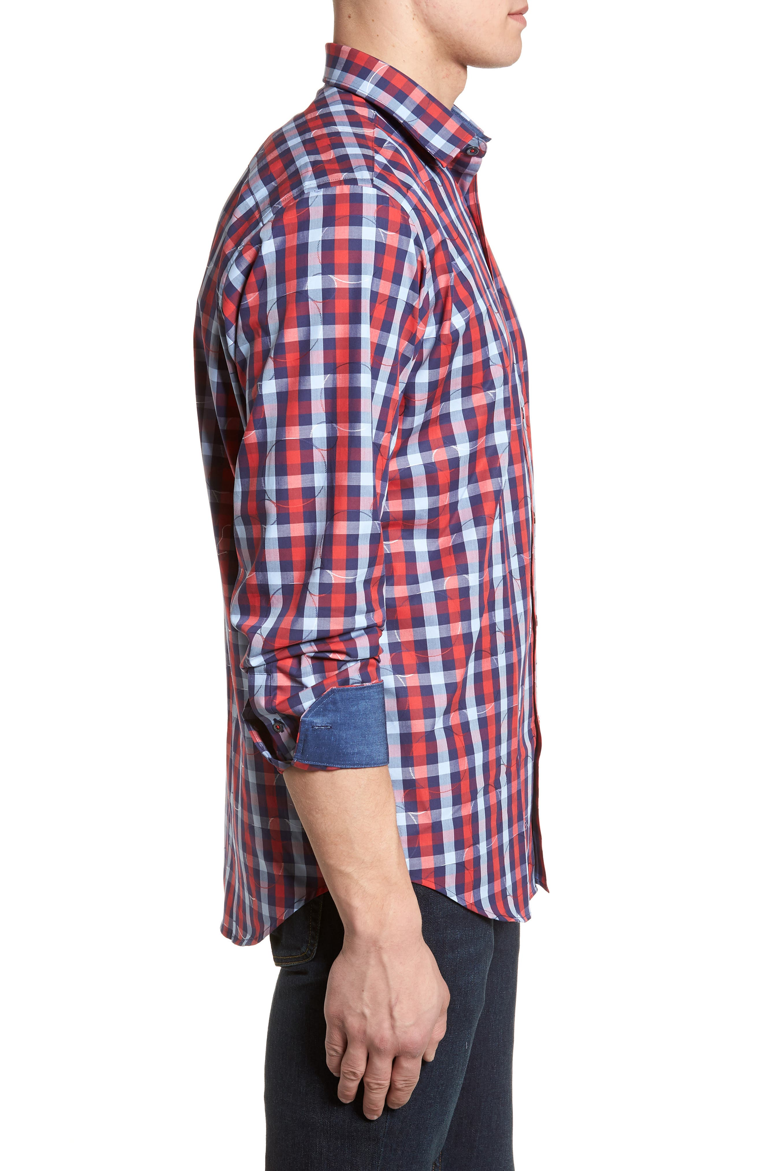 Classic Fit Woven Sport Shirt,                             Alternate thumbnail 3, color,                             Ruby