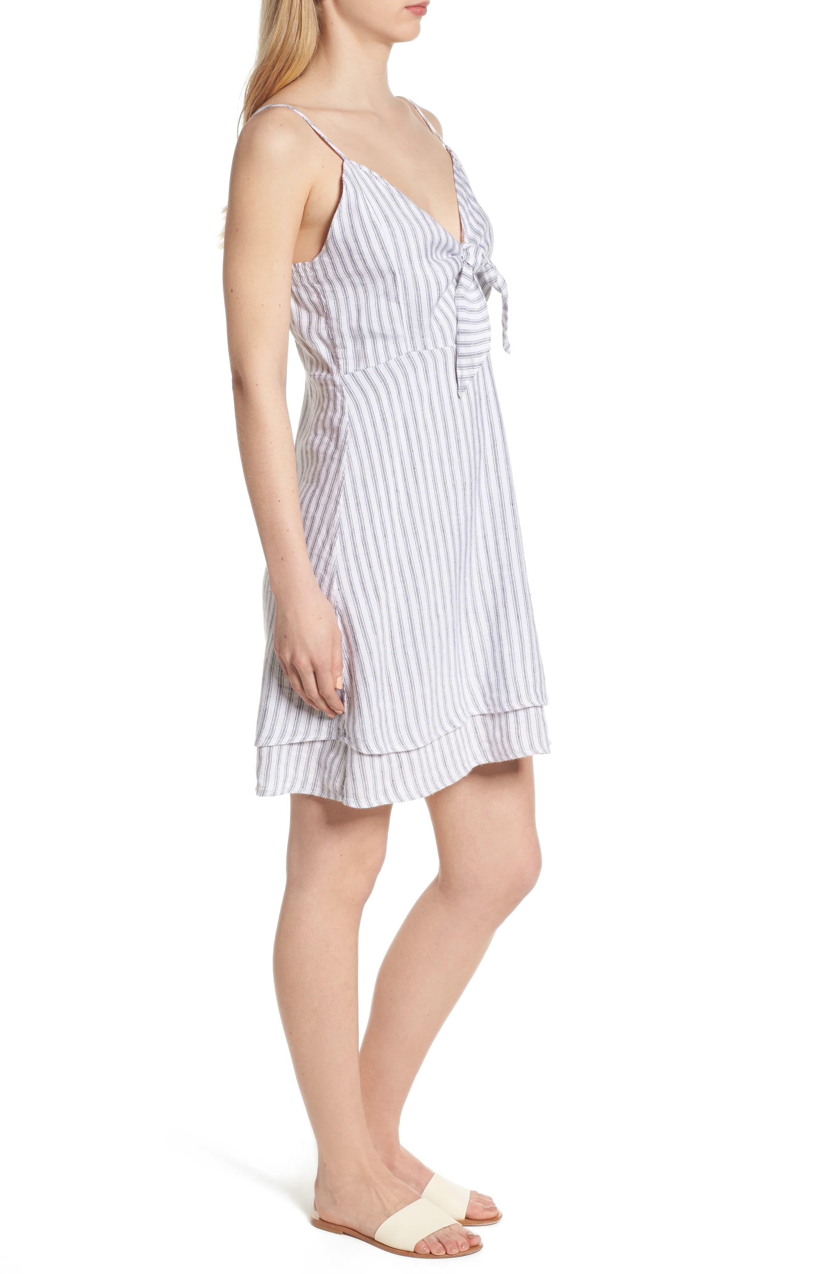 August Stripe Tie Front Dress,                             Alternate thumbnail 3, color,                             Canela Stripe