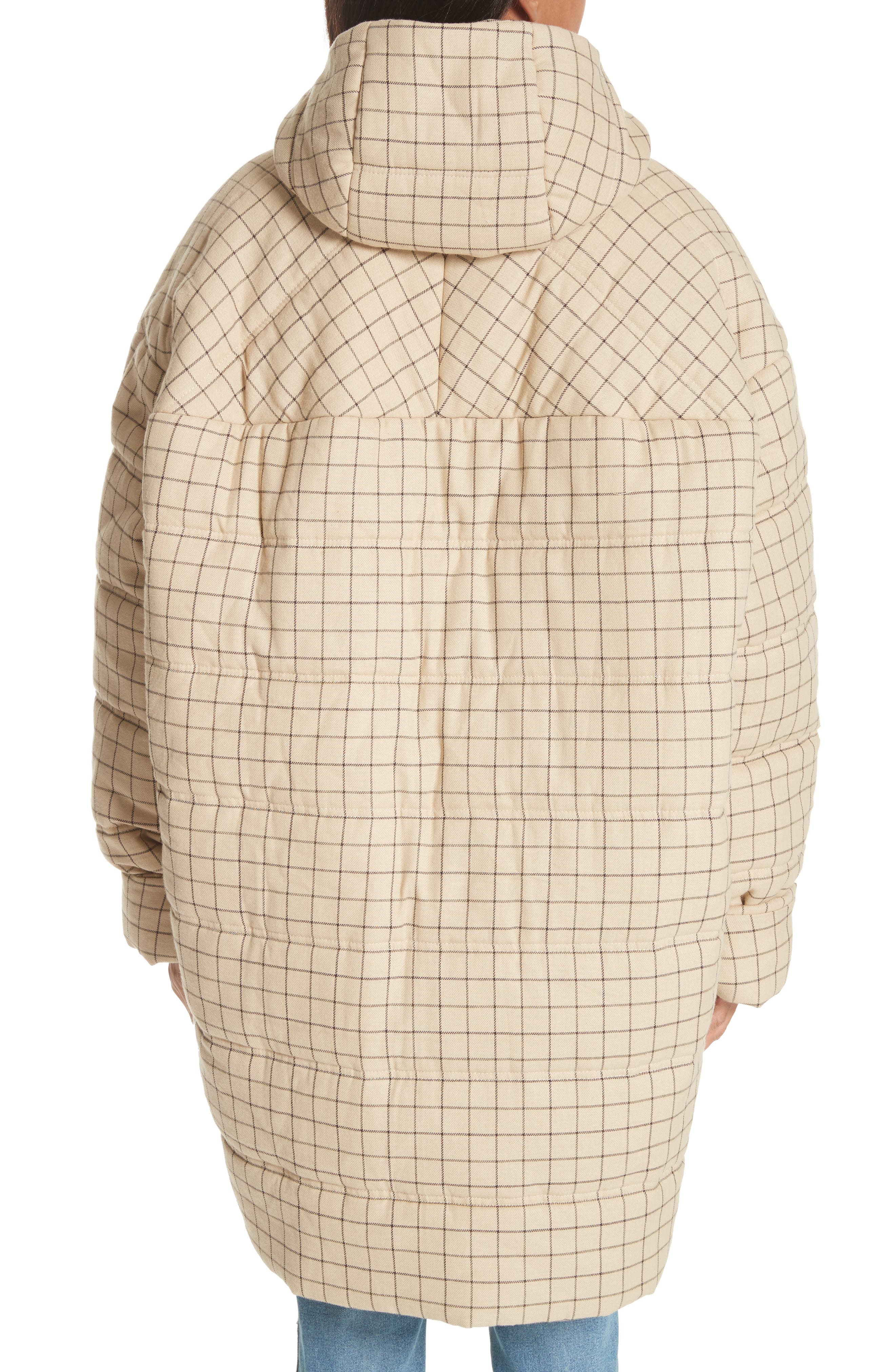 Check Puffer Coat,                             Alternate thumbnail 4, color,                             Beige Check