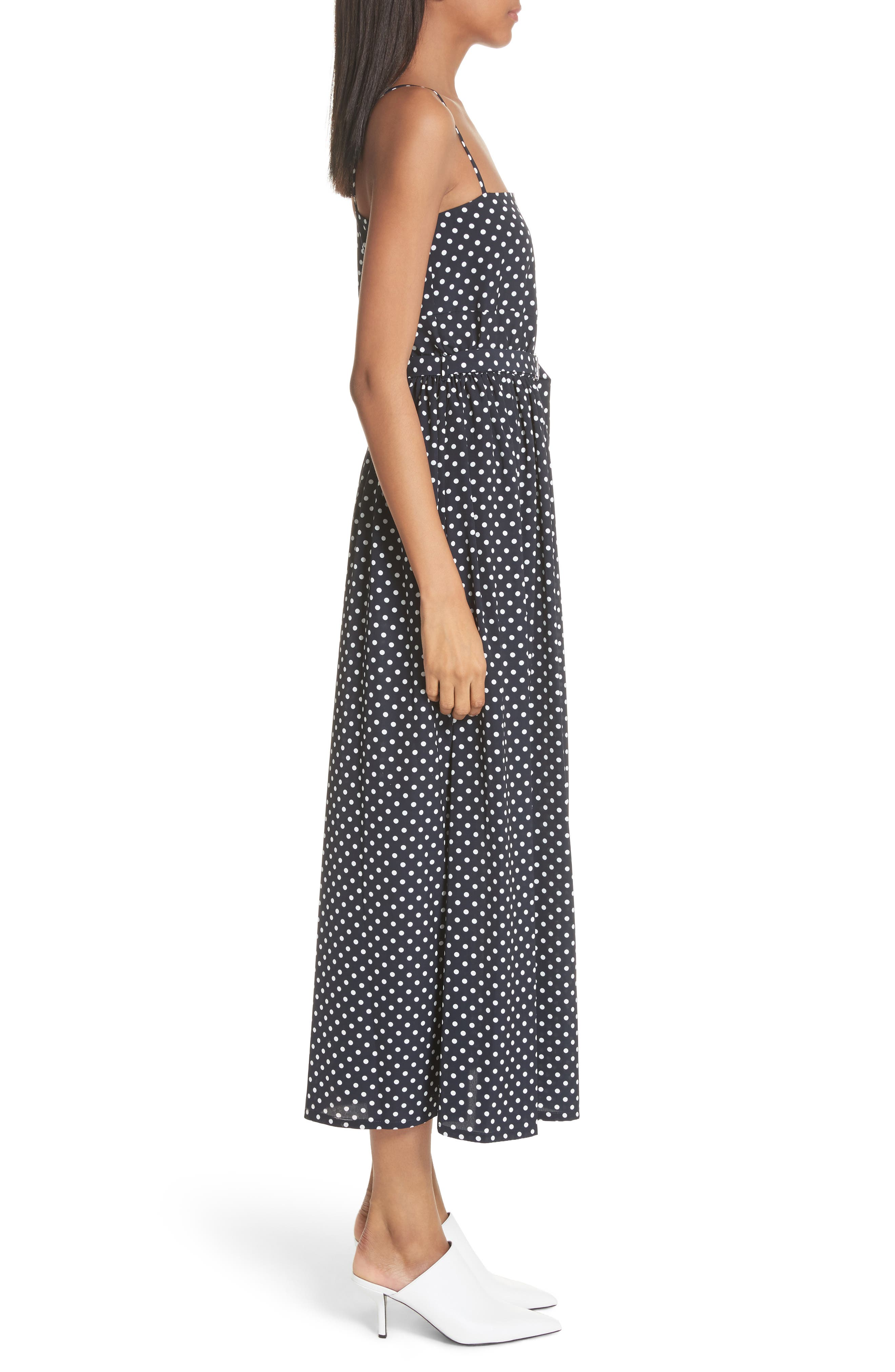 Polka Dot Midi Dress,                             Alternate thumbnail 4, color,                             Navy