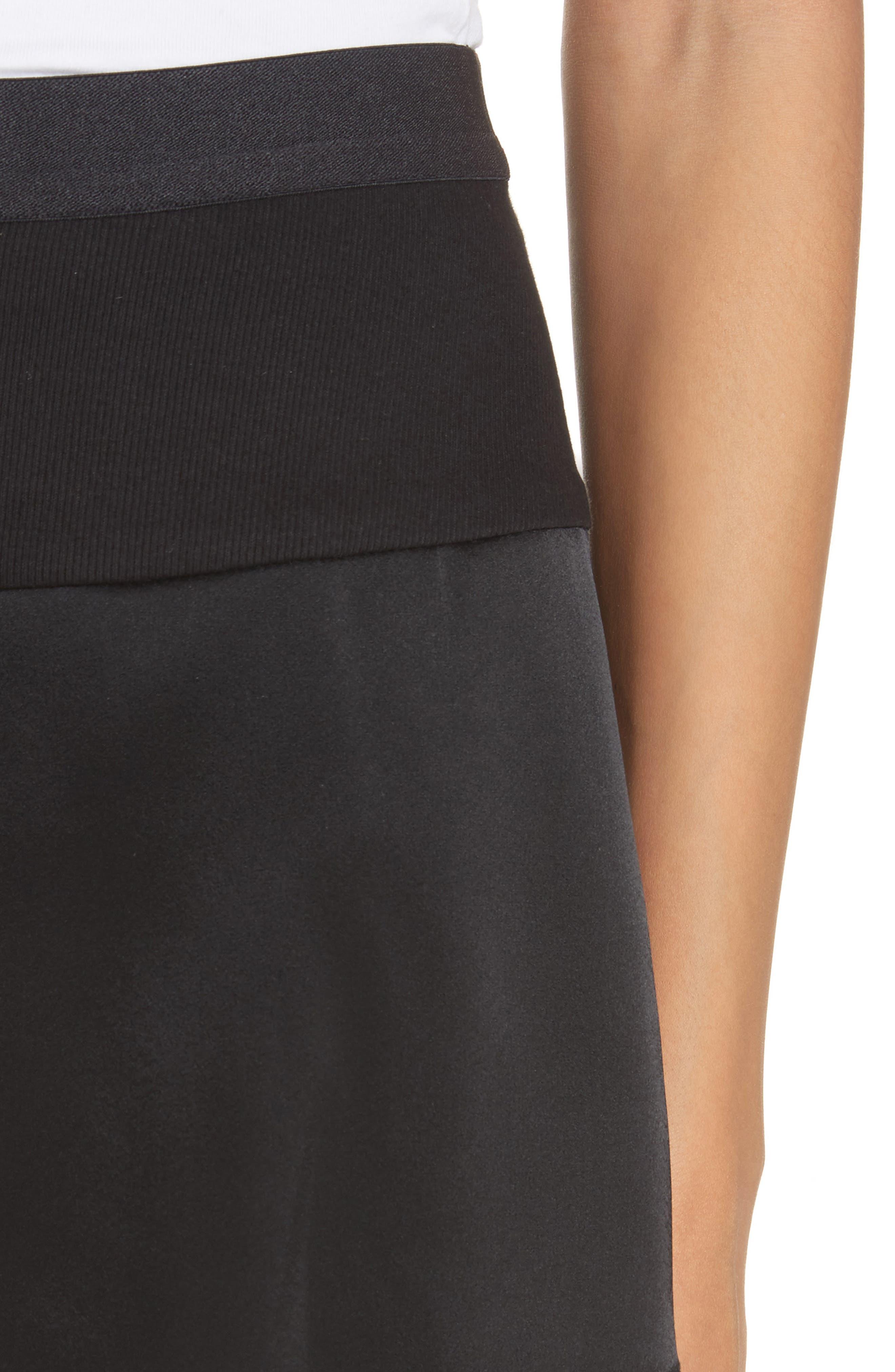 Lace Trim Satin Shorts,                             Alternate thumbnail 4, color,                             Black