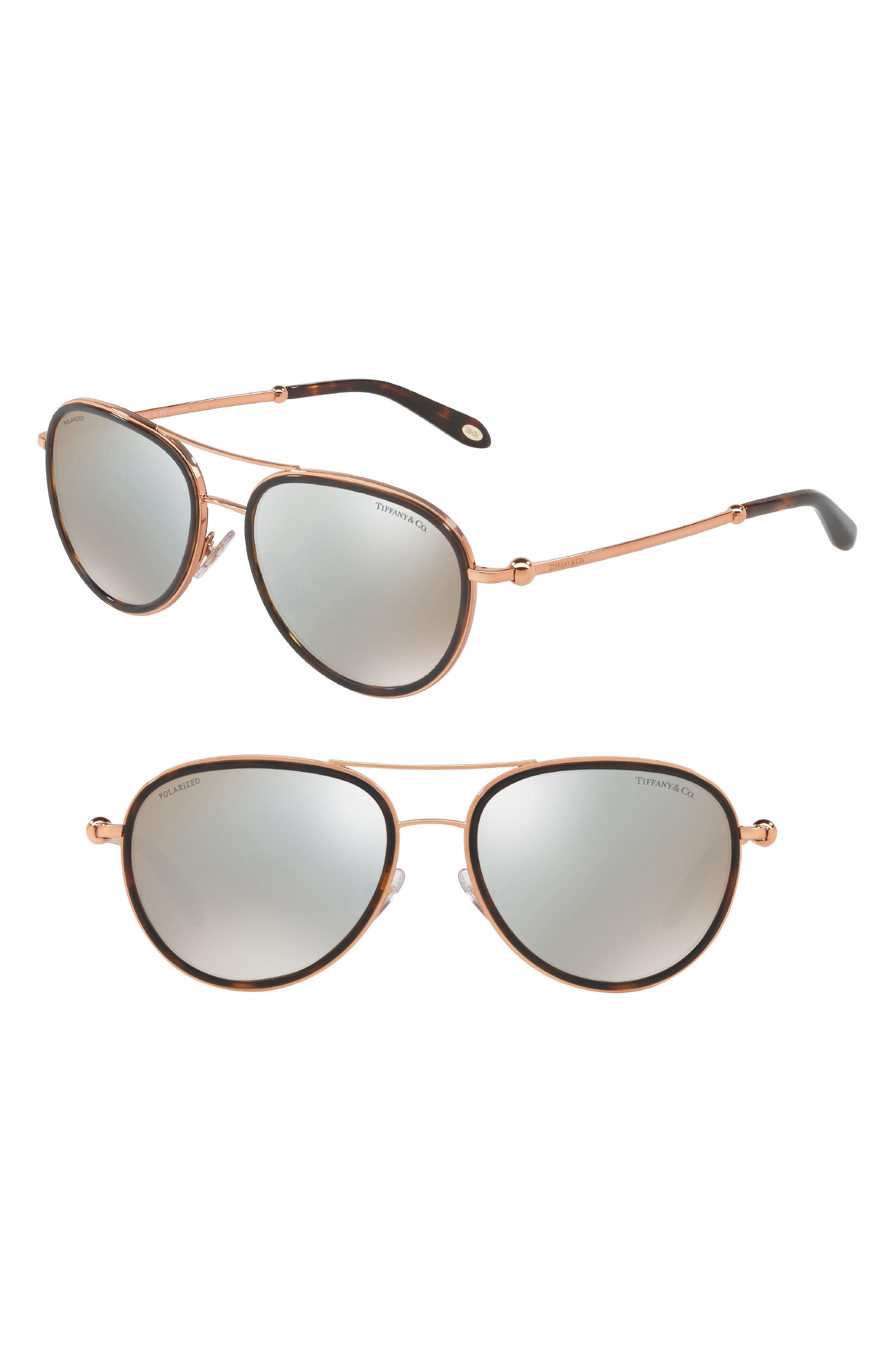 Tiffany 55mm Polarized Metal Aviator Sunglasses,                         Main,                         color, Havana Mirror
