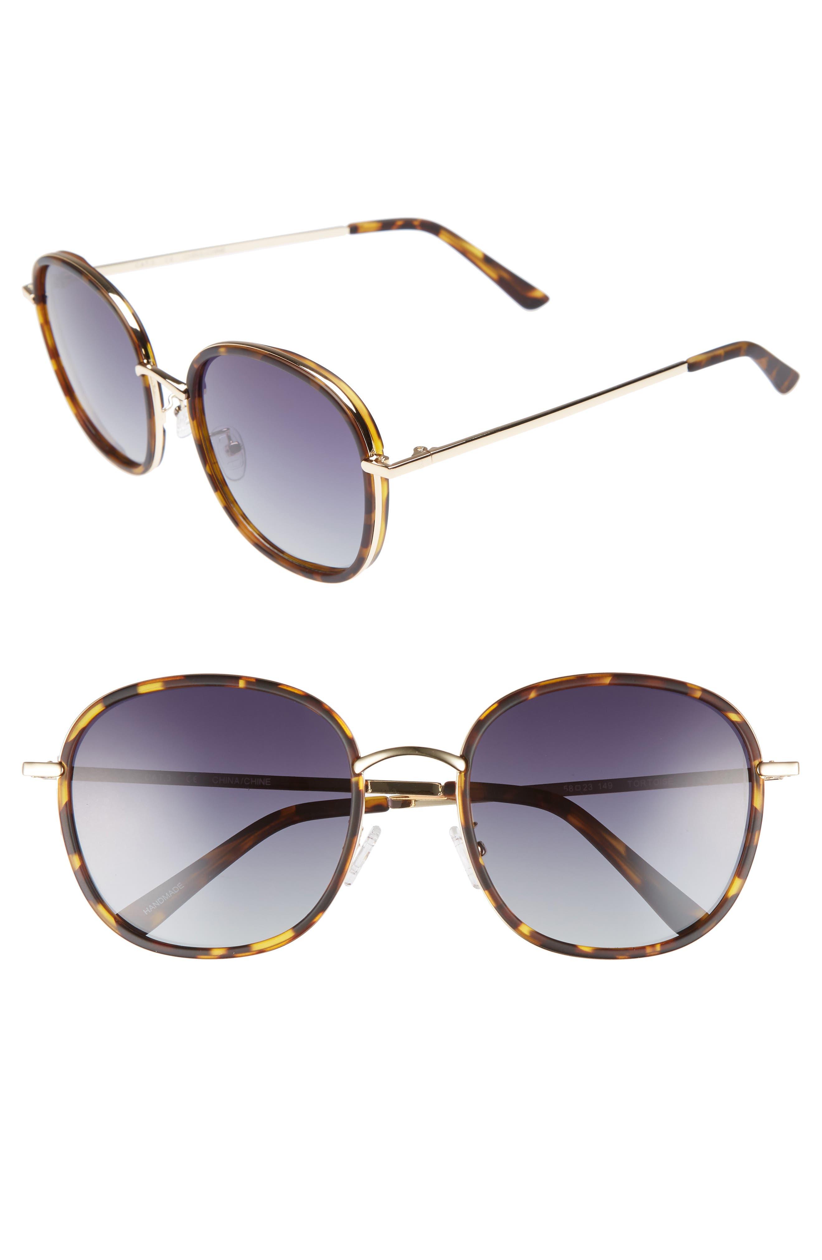Layla 58mm Sunglasses,                             Main thumbnail 1, color,                             Matte Tort