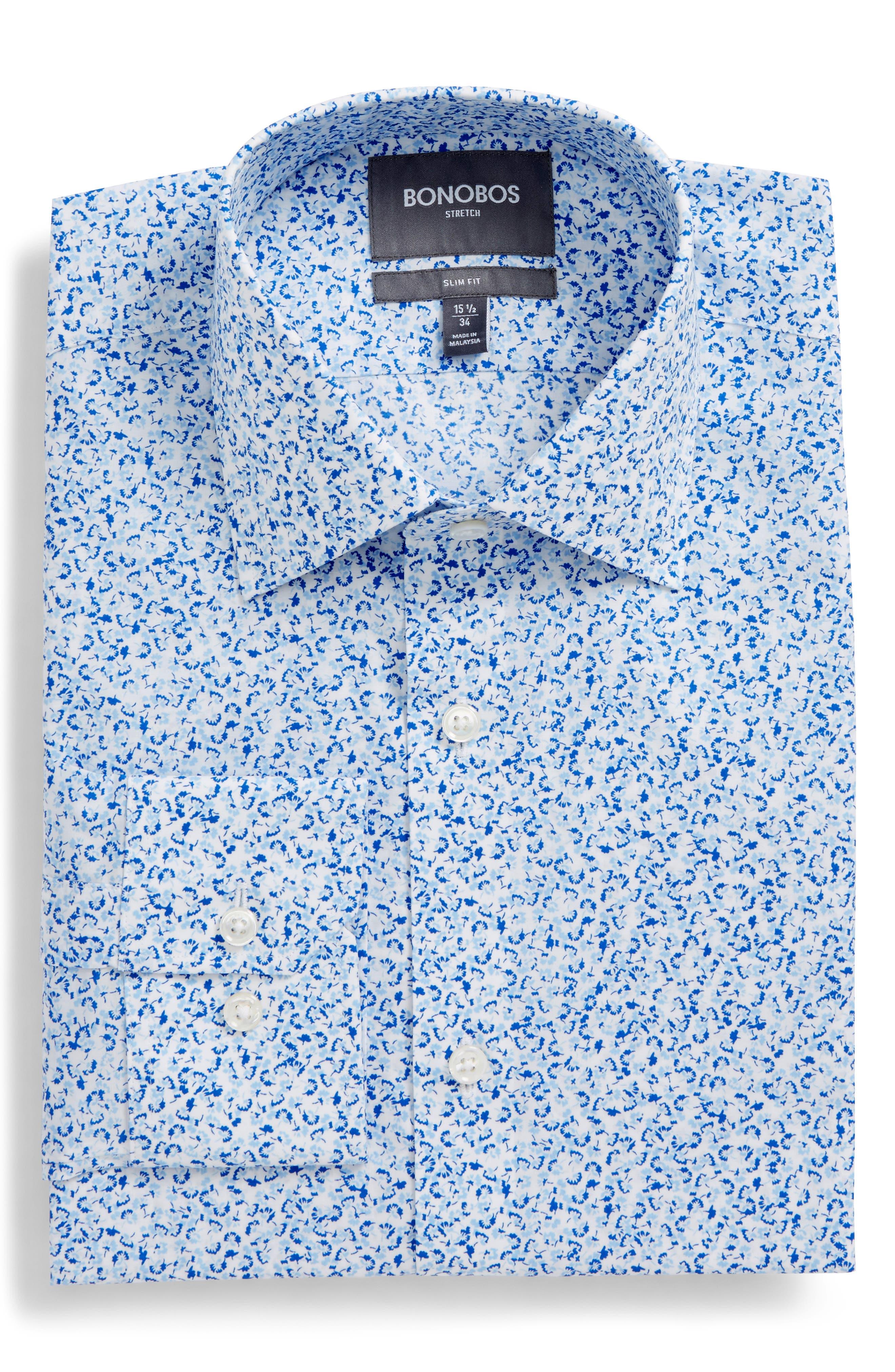 Jetsetter Slim Fit Floral Dress Shirt,                             Alternate thumbnail 6, color,                             Lapis Blue