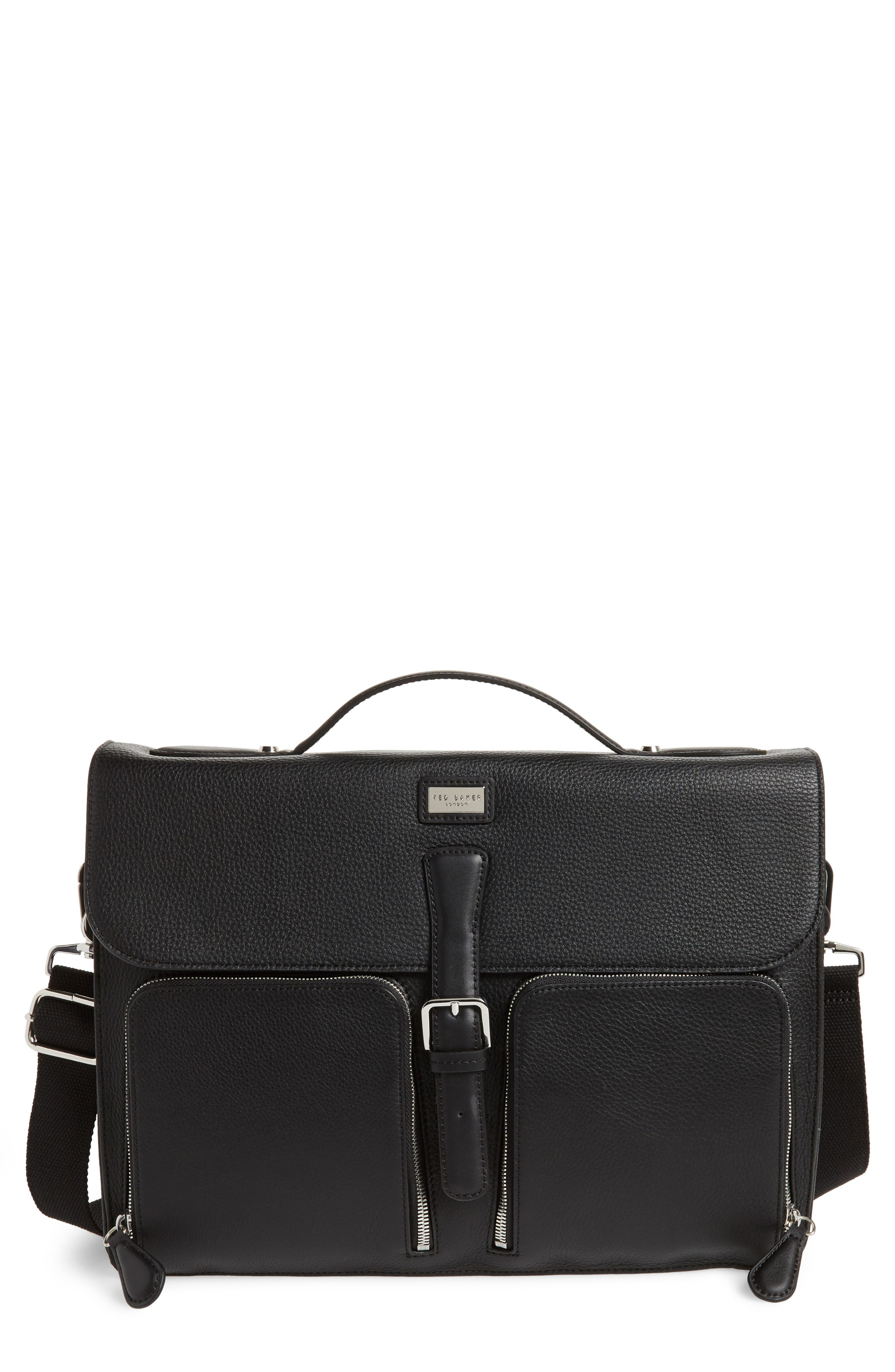 Munch Leather Satchel Briefcase,                             Main thumbnail 1, color,                             Black