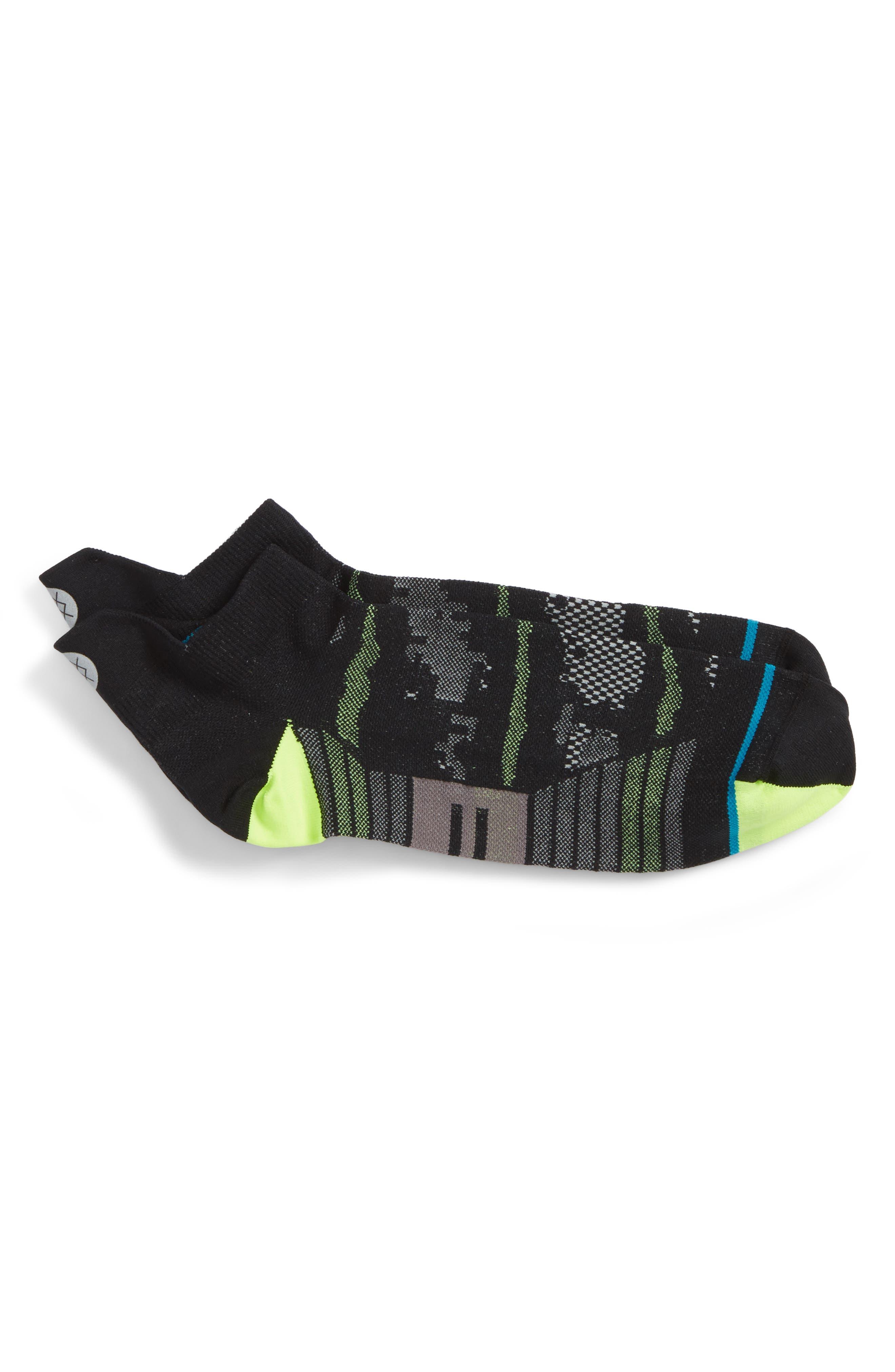 Night Light Tab Socks,                             Main thumbnail 1, color,                             Black